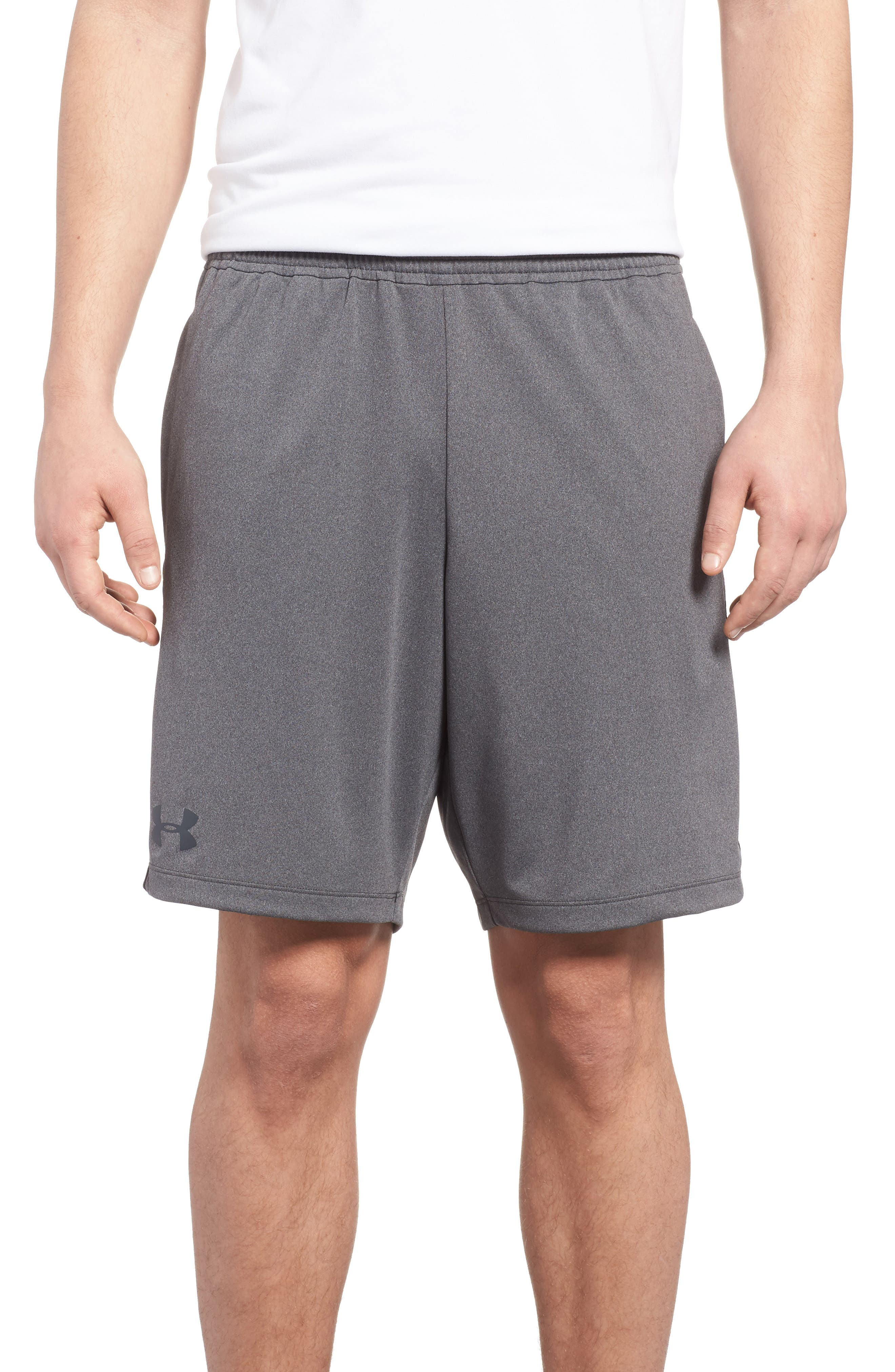 UNDER ARMOUR, Raid 2.0 Classic Fit Shorts, Main thumbnail 1, color, GRAPHITE / BLACK
