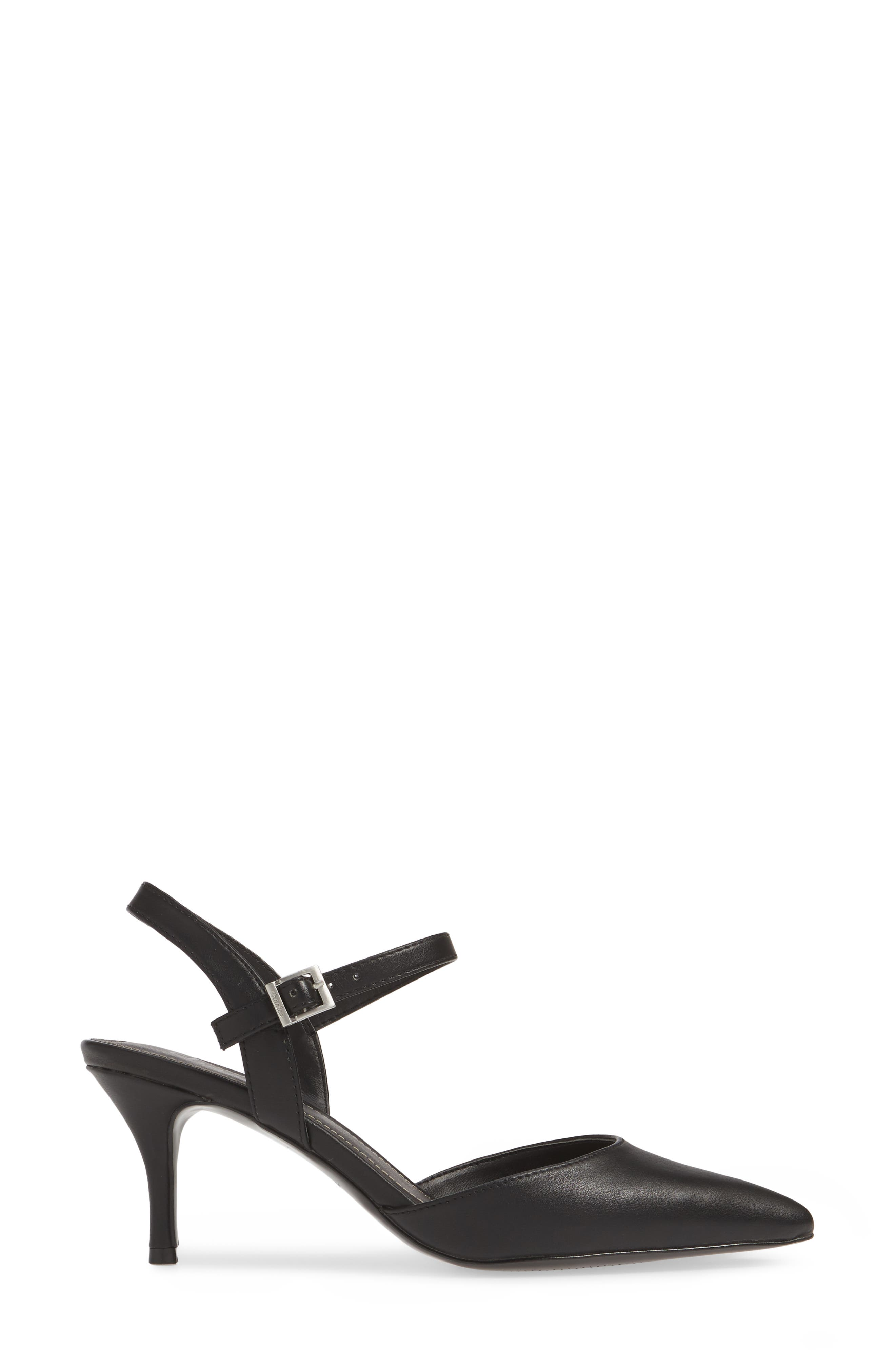 CHARLES BY CHARLES DAVID, Ankle Strap Pump, Alternate thumbnail 3, color, BLACK FAUX LEATHER