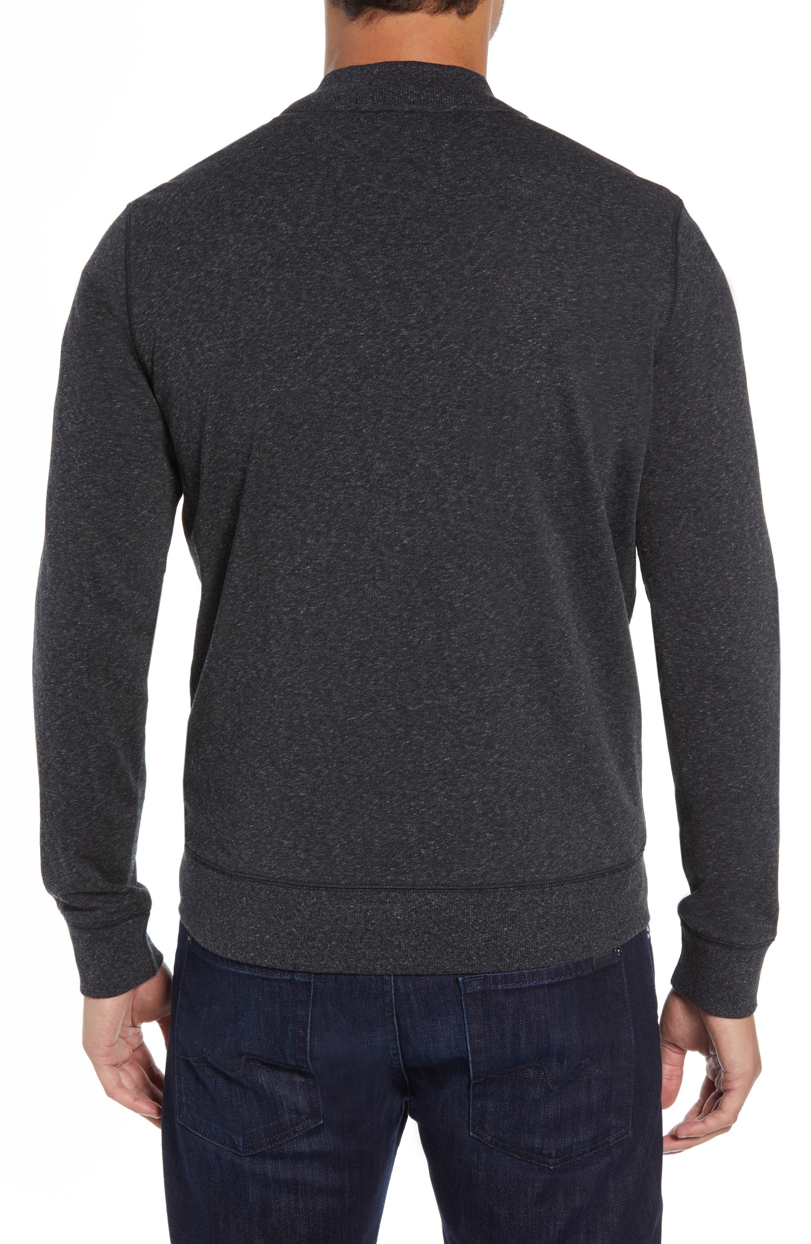 ROBERT BARAKETT, Front Zip Knit Jacket, Alternate thumbnail 2, color, BLACK