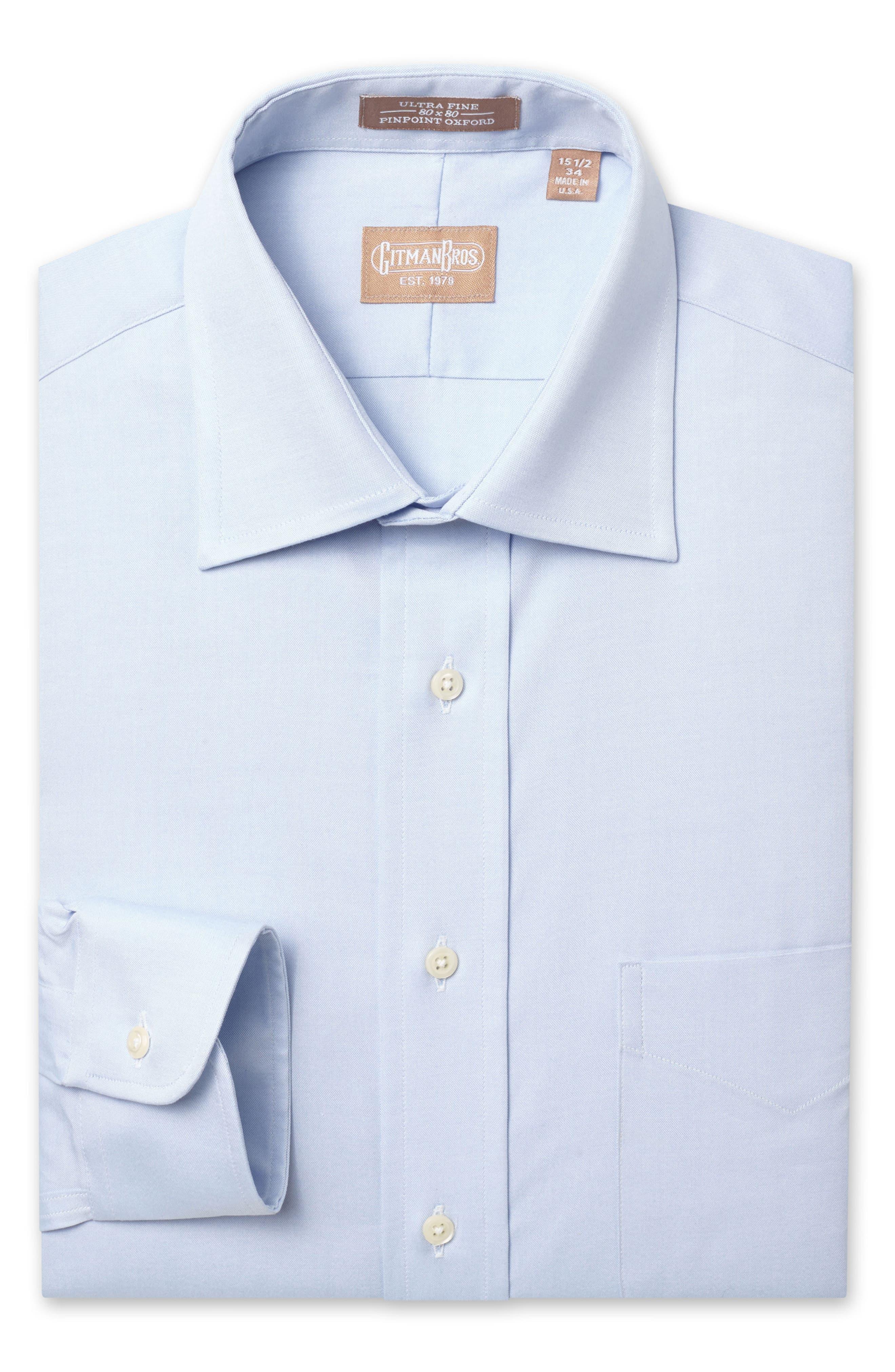 GITMAN Regular Fit Pinpoint Cotton Oxford Point Collar Dress Shirt, Main, color, LIGHT BLUE