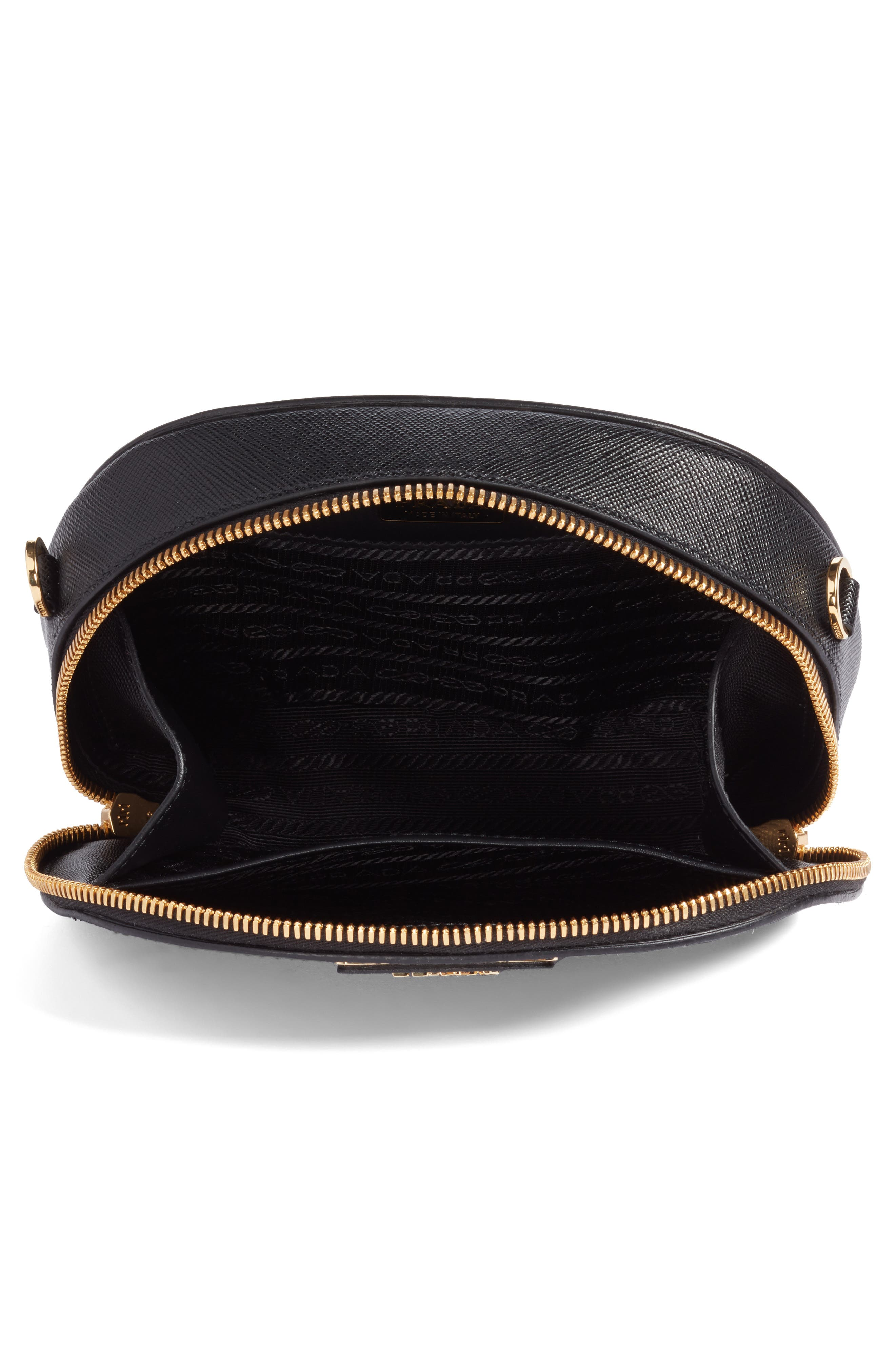 PRADA, Saffiano Leather Belt Bag, Alternate thumbnail 5, color, 001