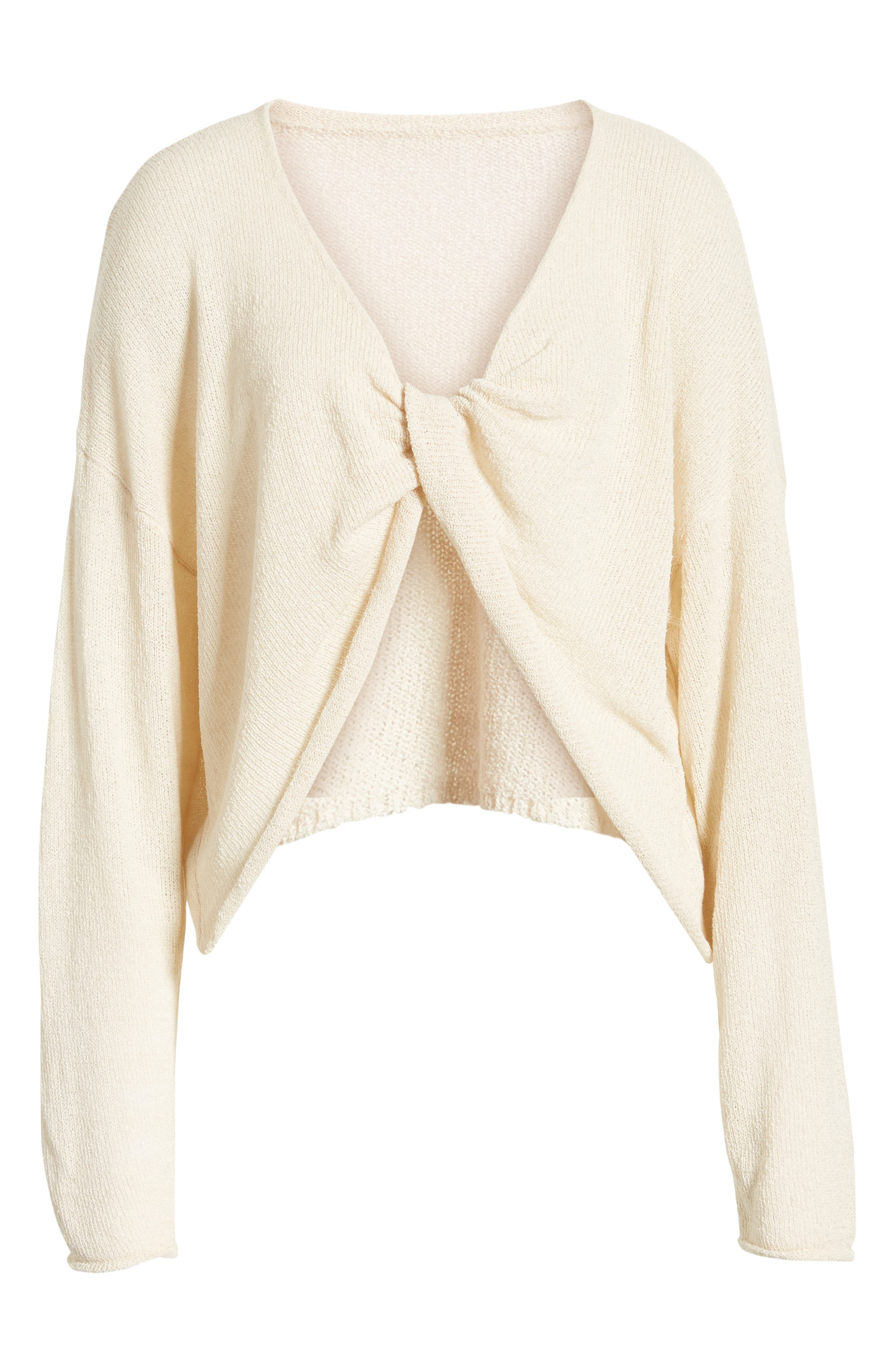 CHRISELLE LIM COLLECTION, Chriselle Lim Sabine Front/Back Sweater, Alternate thumbnail 7, color, NATURAL