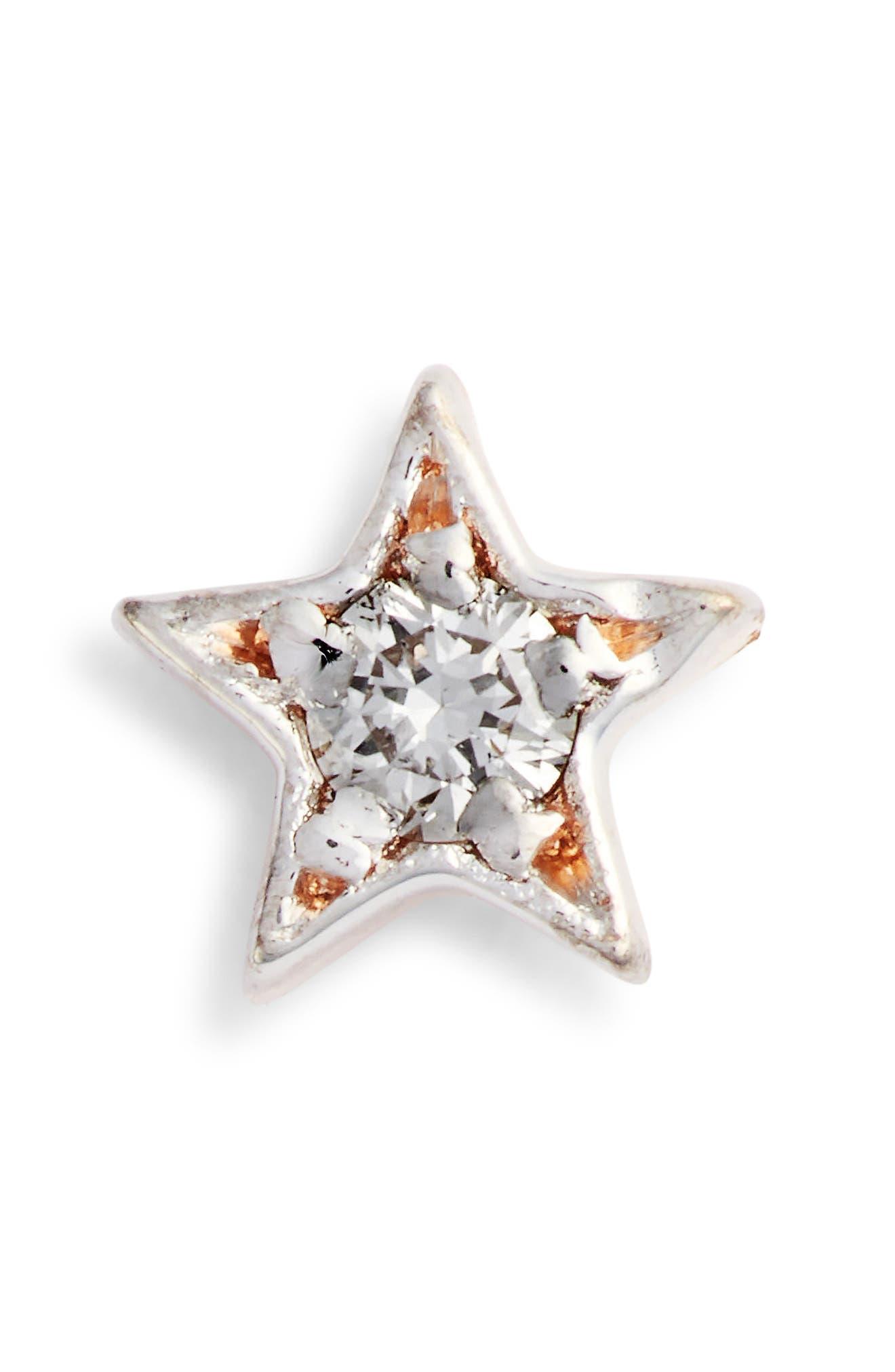 KISMET BY MILKA, Single Diamond Star Stud Earring, Main thumbnail 1, color, ROSE GOLD