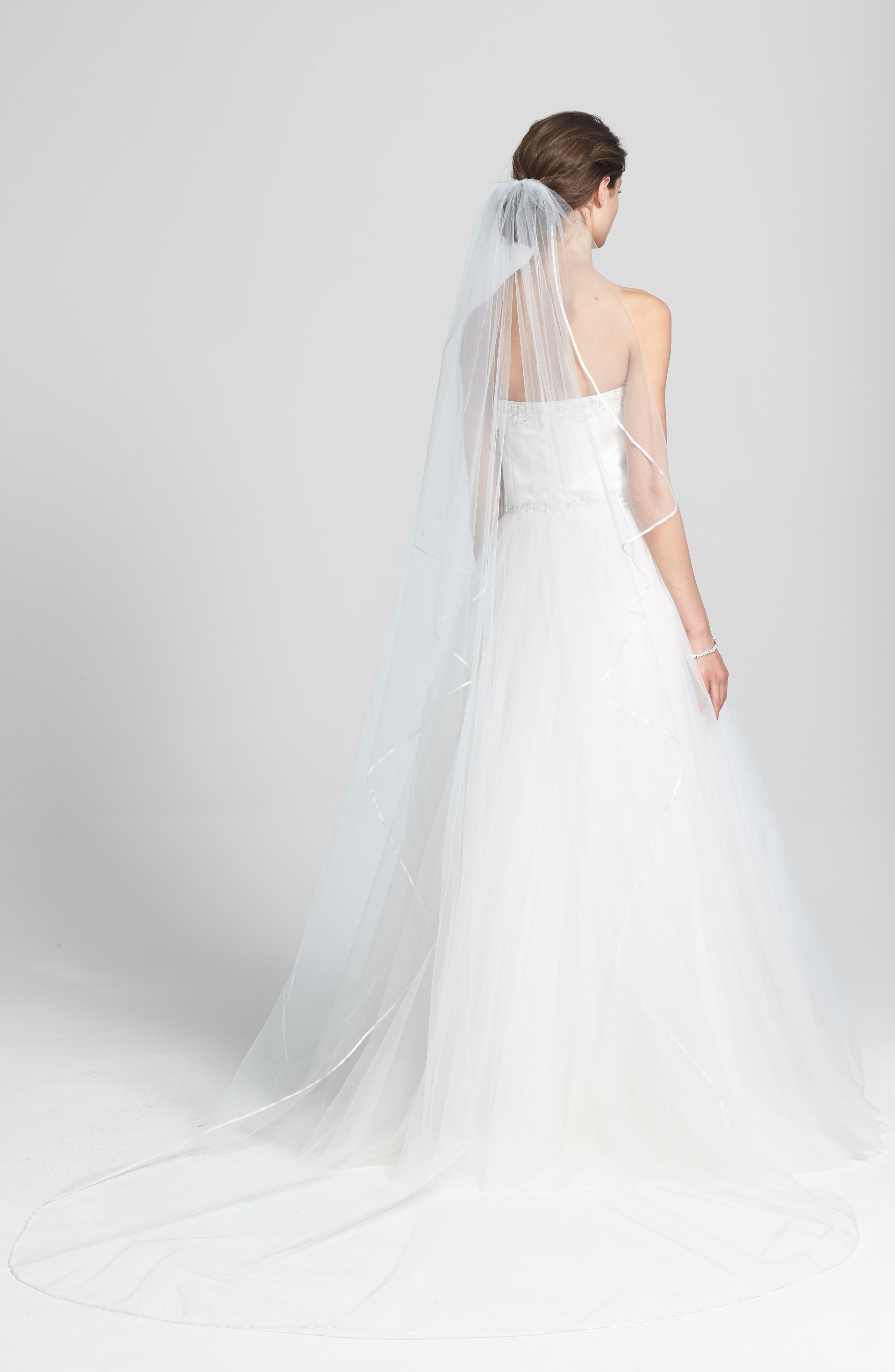 WEDDING BELLES NEW YORK 'Mable' Satin Trim Cathedral Veil, Main, color, IVORY