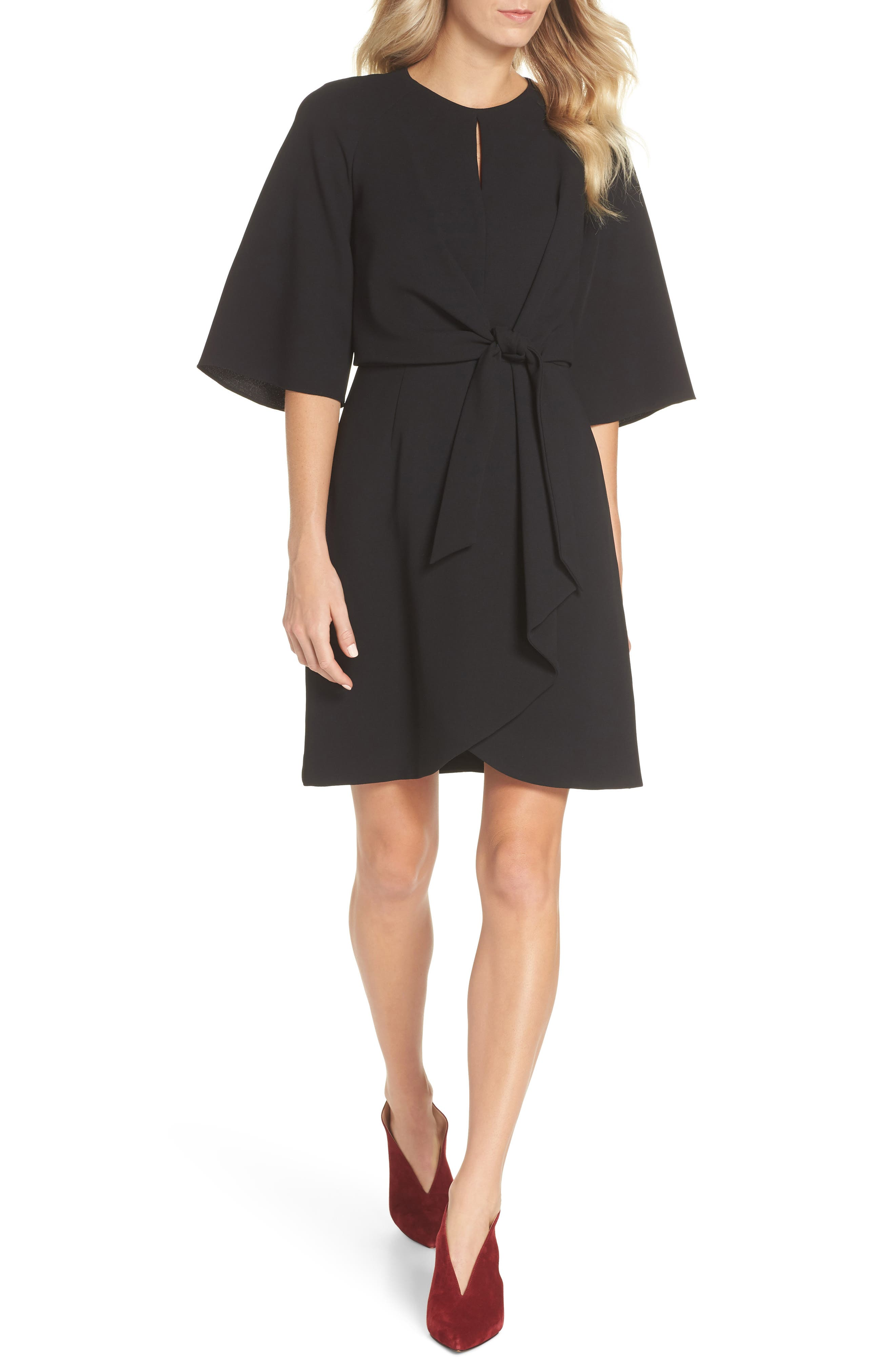 TAHARI Tie Front Crepe Sheath Dress, Main, color, BLACK