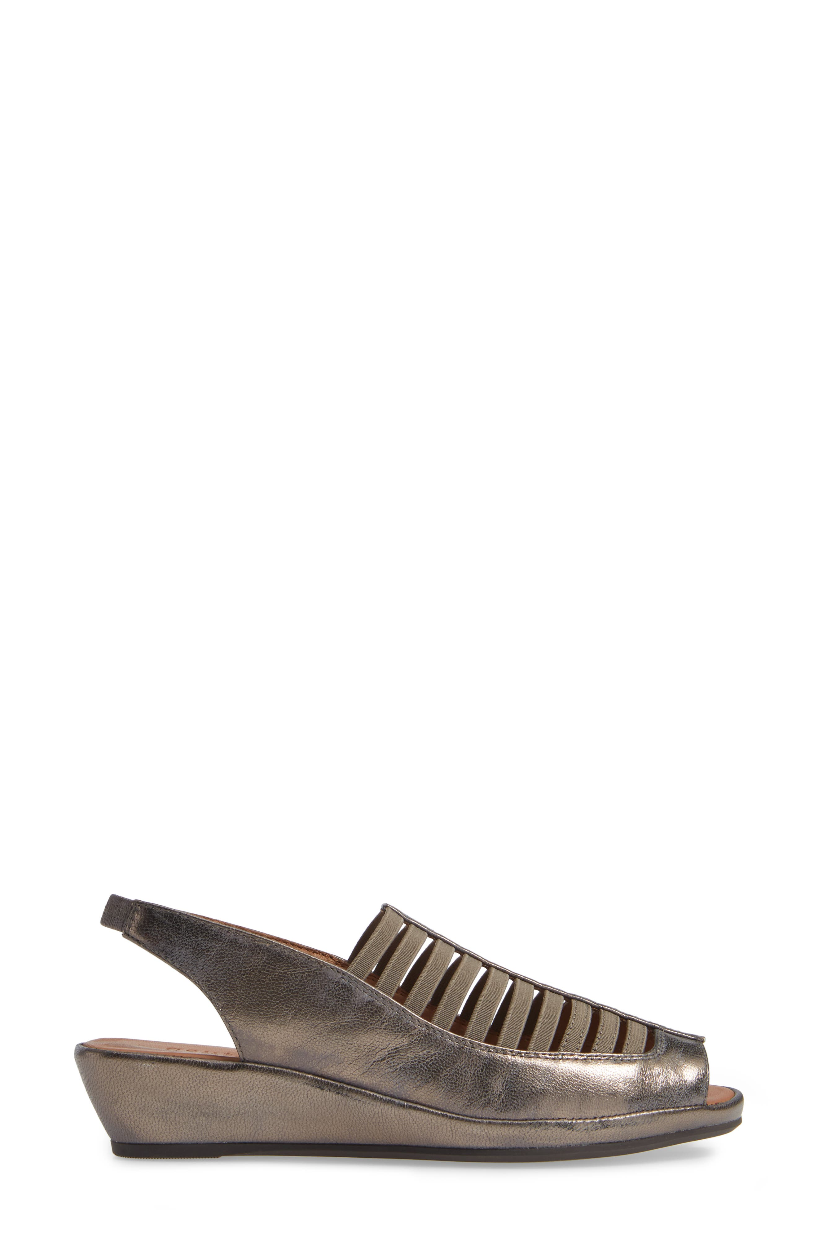 GENTLE SOULS BY KENNETH COLE, 'Lee' Sandal, Alternate thumbnail 3, color, PEWTER METALLIC LEATHER