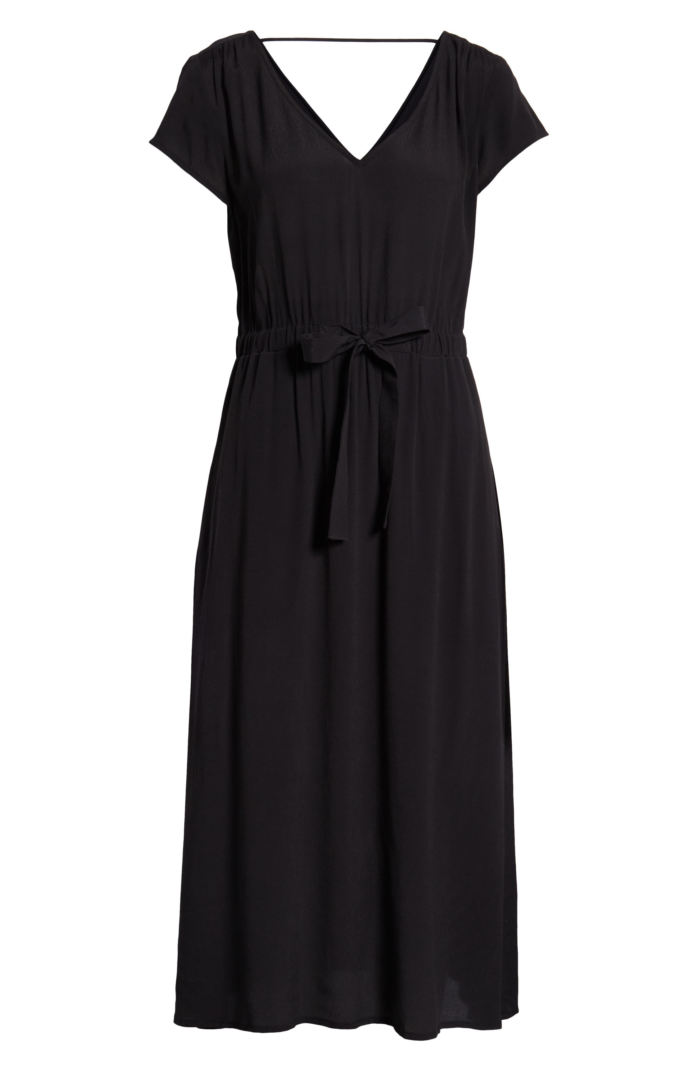 TREASURE & BOND, Cap Sleeve Midi Dress, Alternate thumbnail 7, color, BLACK