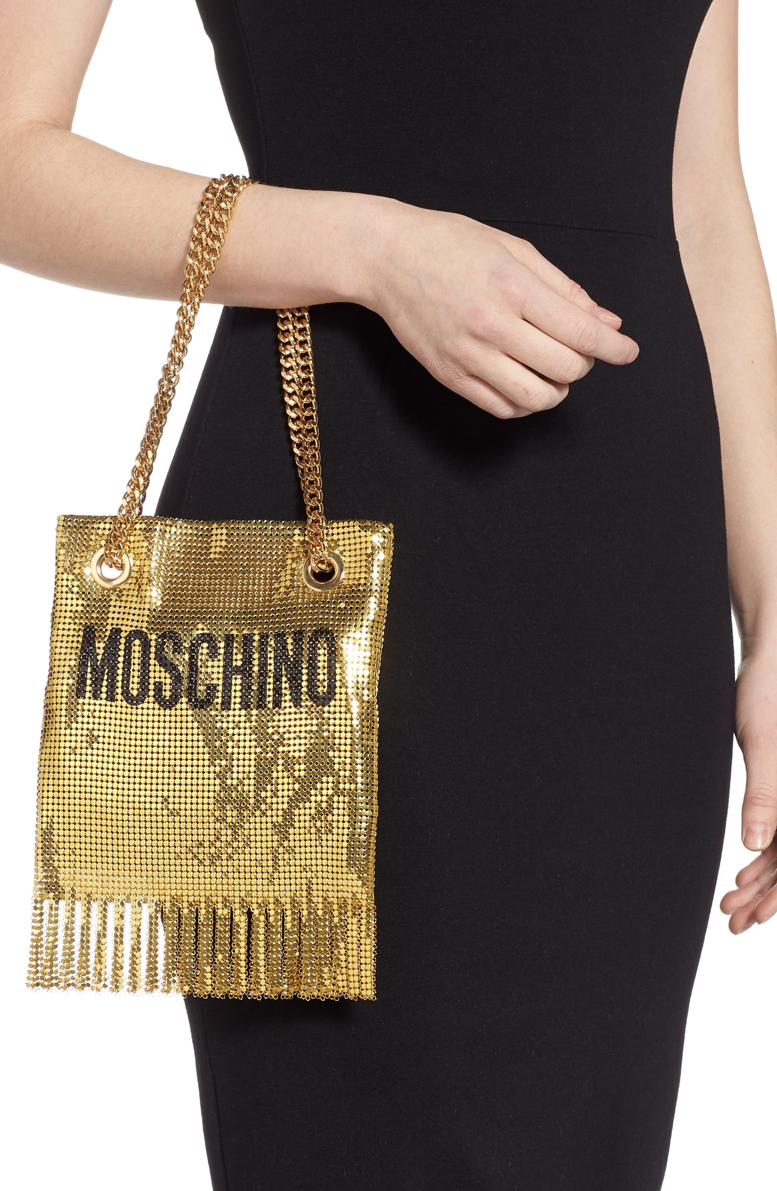 MOSCHINO, Logo Metallic Mesh Fringe Bag, Alternate thumbnail 2, color, GOLD