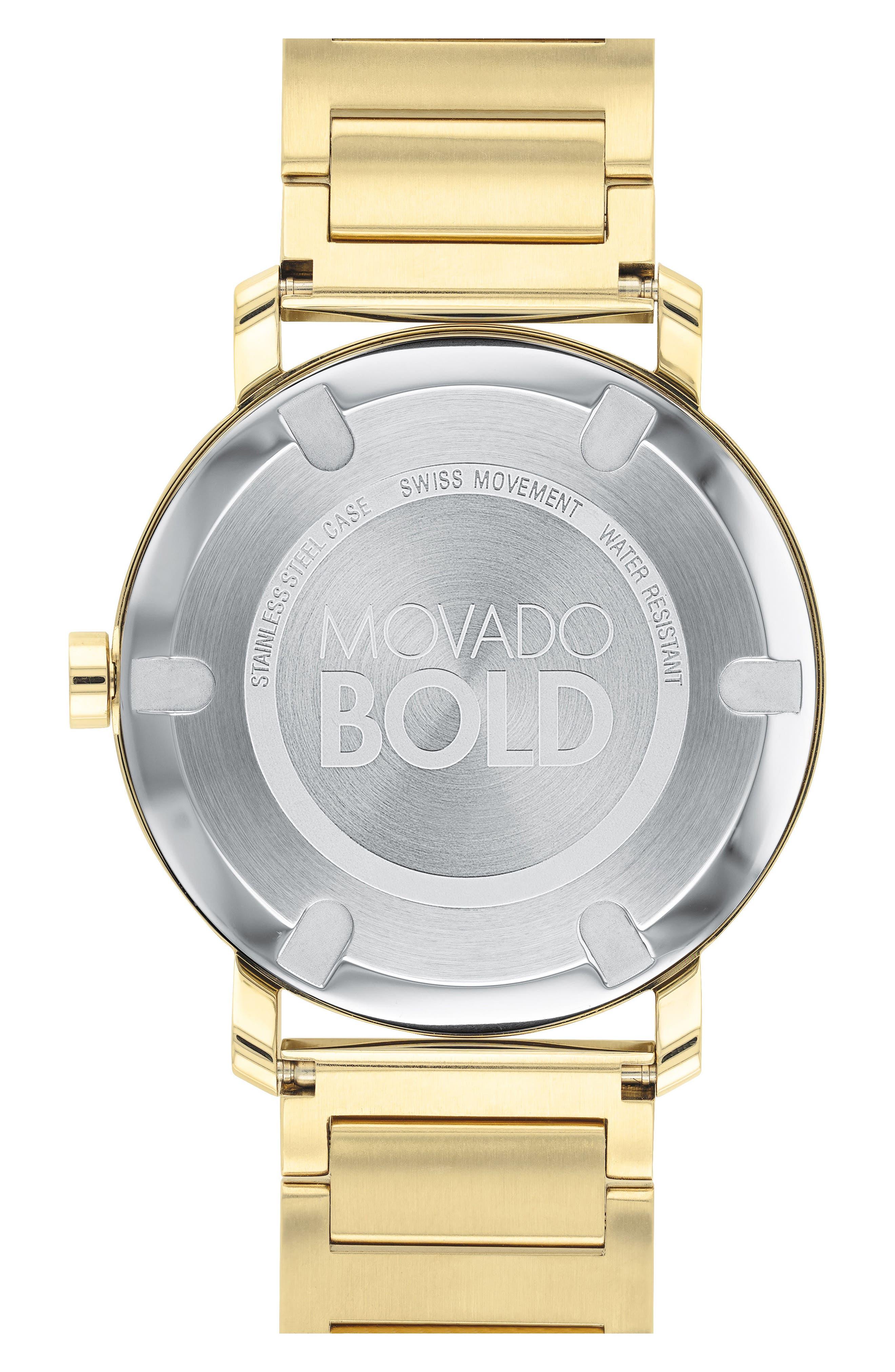 MOVADO, Bold Bracelet Watch, 40mm, Alternate thumbnail 2, color, GOLD