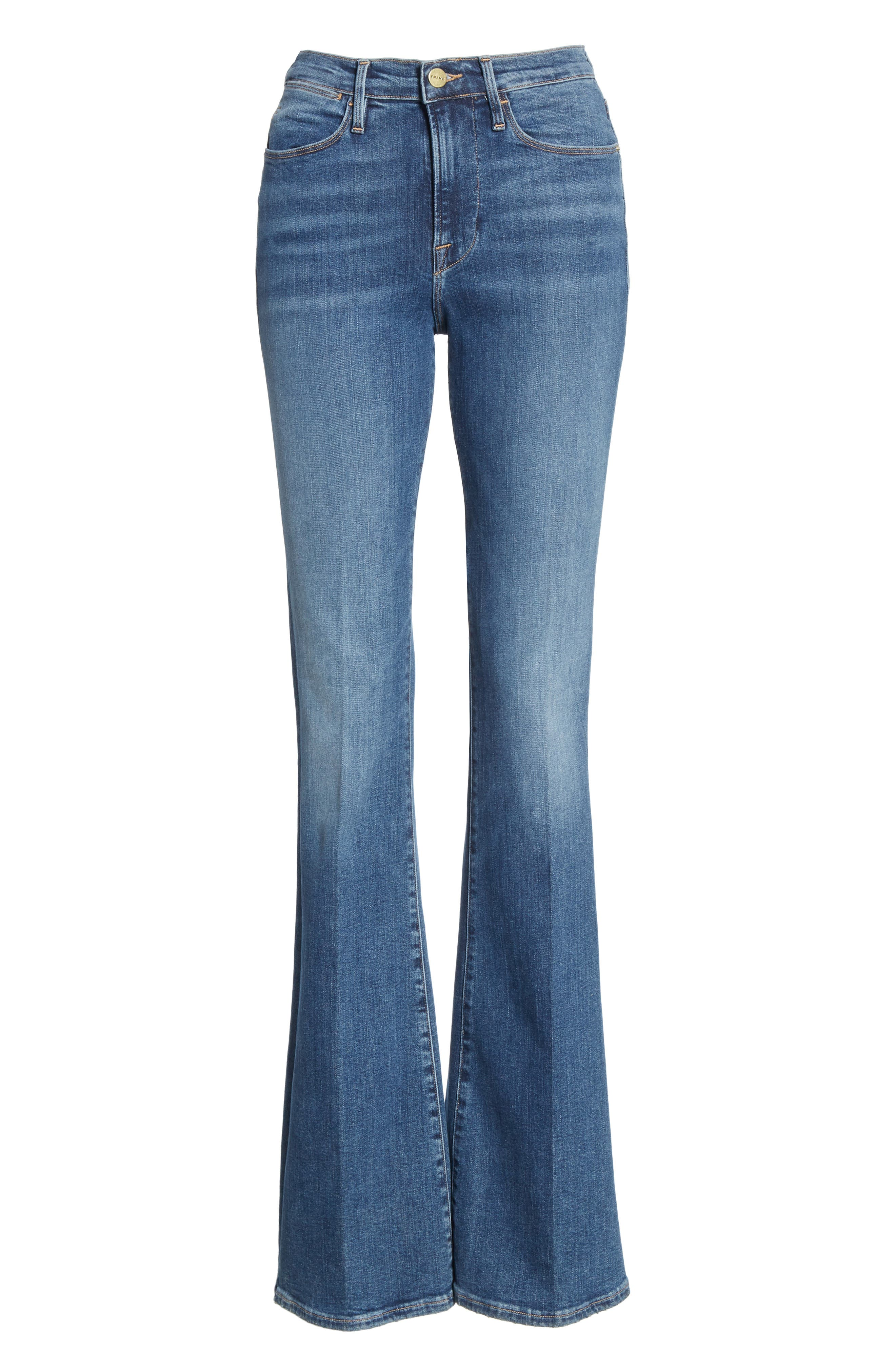 FRAME, Le High Flare Jeans, Alternate thumbnail 8, color, CRISTALLO