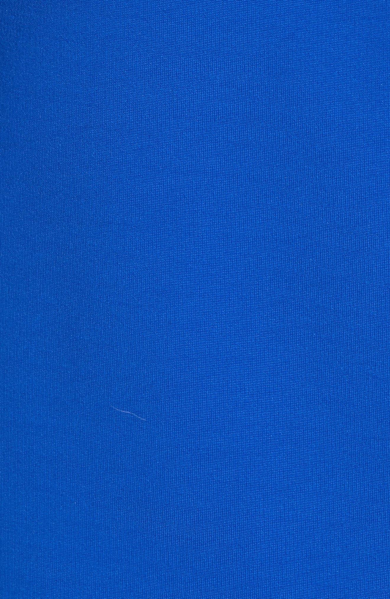 CUSHNIE, Off the Shoulder Pencil Dress, Alternate thumbnail 7, color, LAPIS