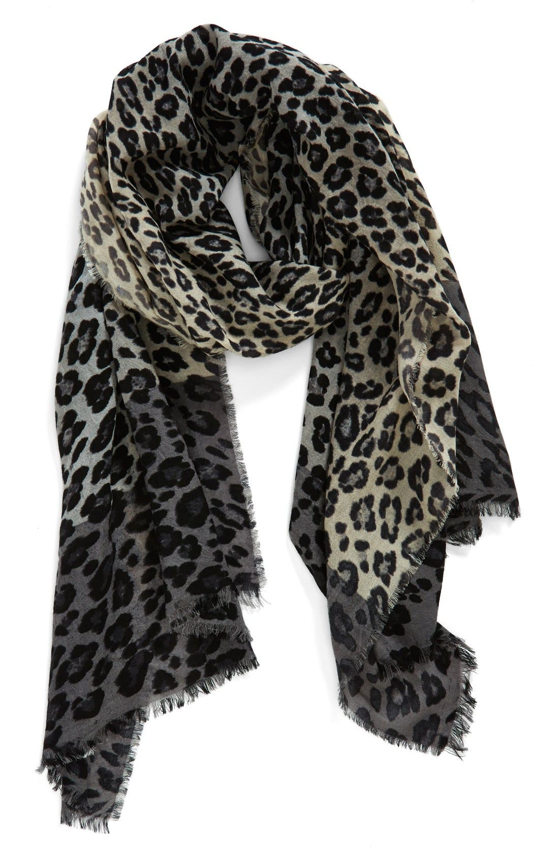 NORDSTROM, 'Luxe Animal' Challis Scarf, Main thumbnail 1, color, 020