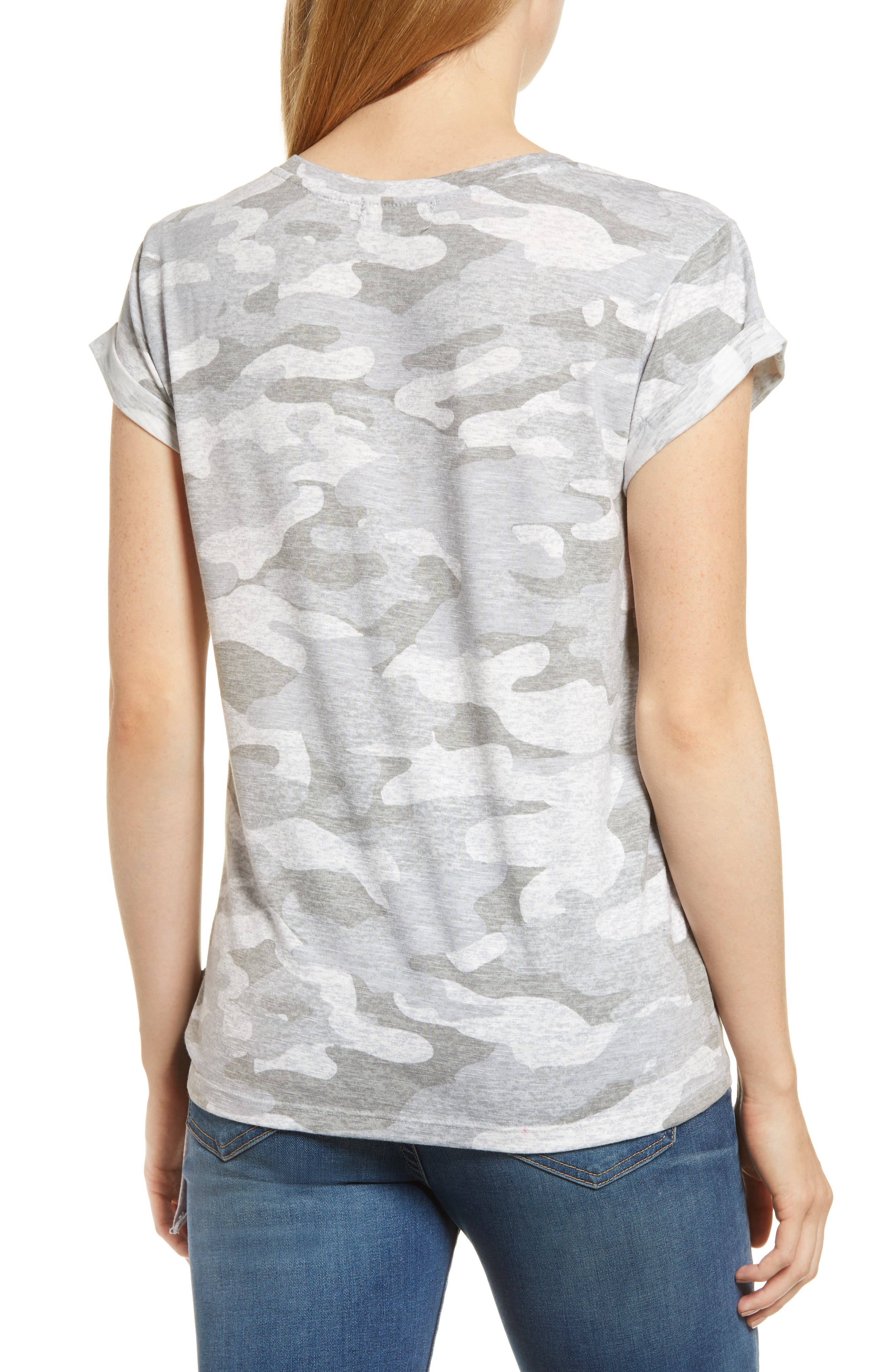 WIT & WISDOM, Tie Waist Tee, Alternate thumbnail 2, color, GREY