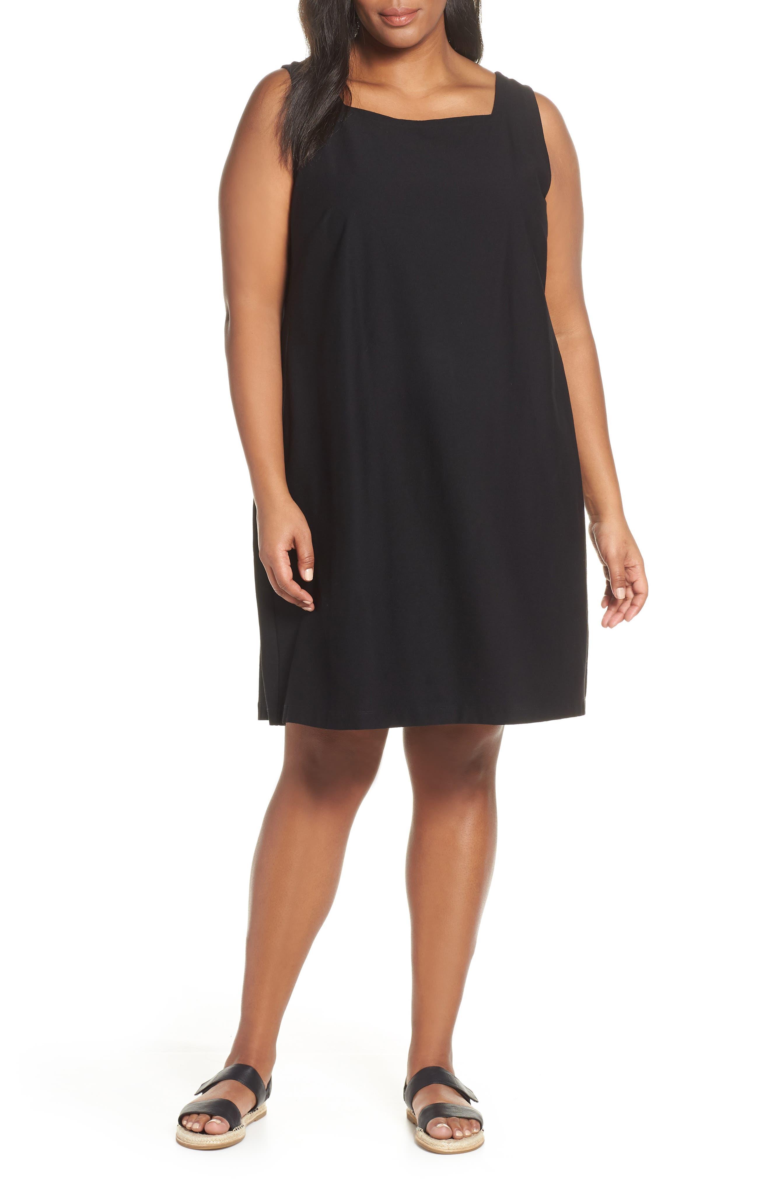 Plus Size Eileen Fisher Square Neck Shift Dress, Black