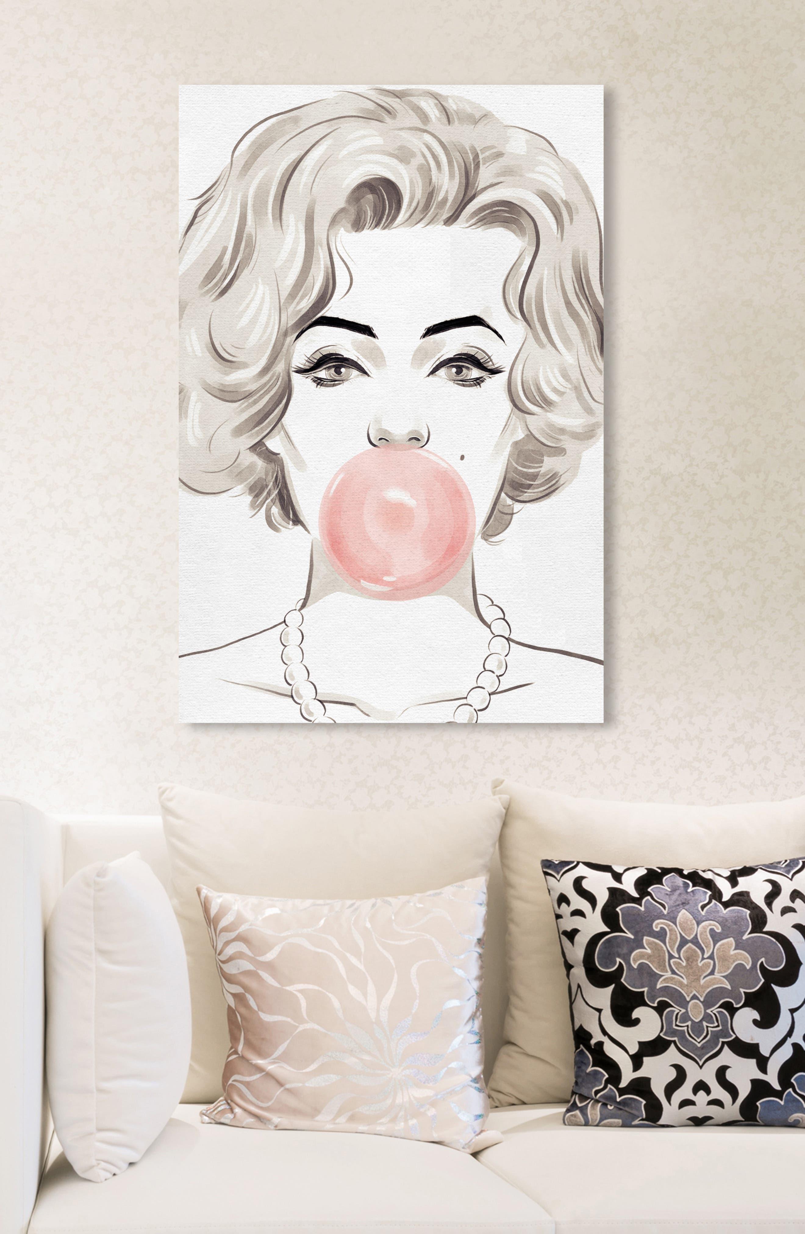 OLIVER GAL, Bubblegum Beauty Canvas Wall Art, Alternate thumbnail 3, color, PINK