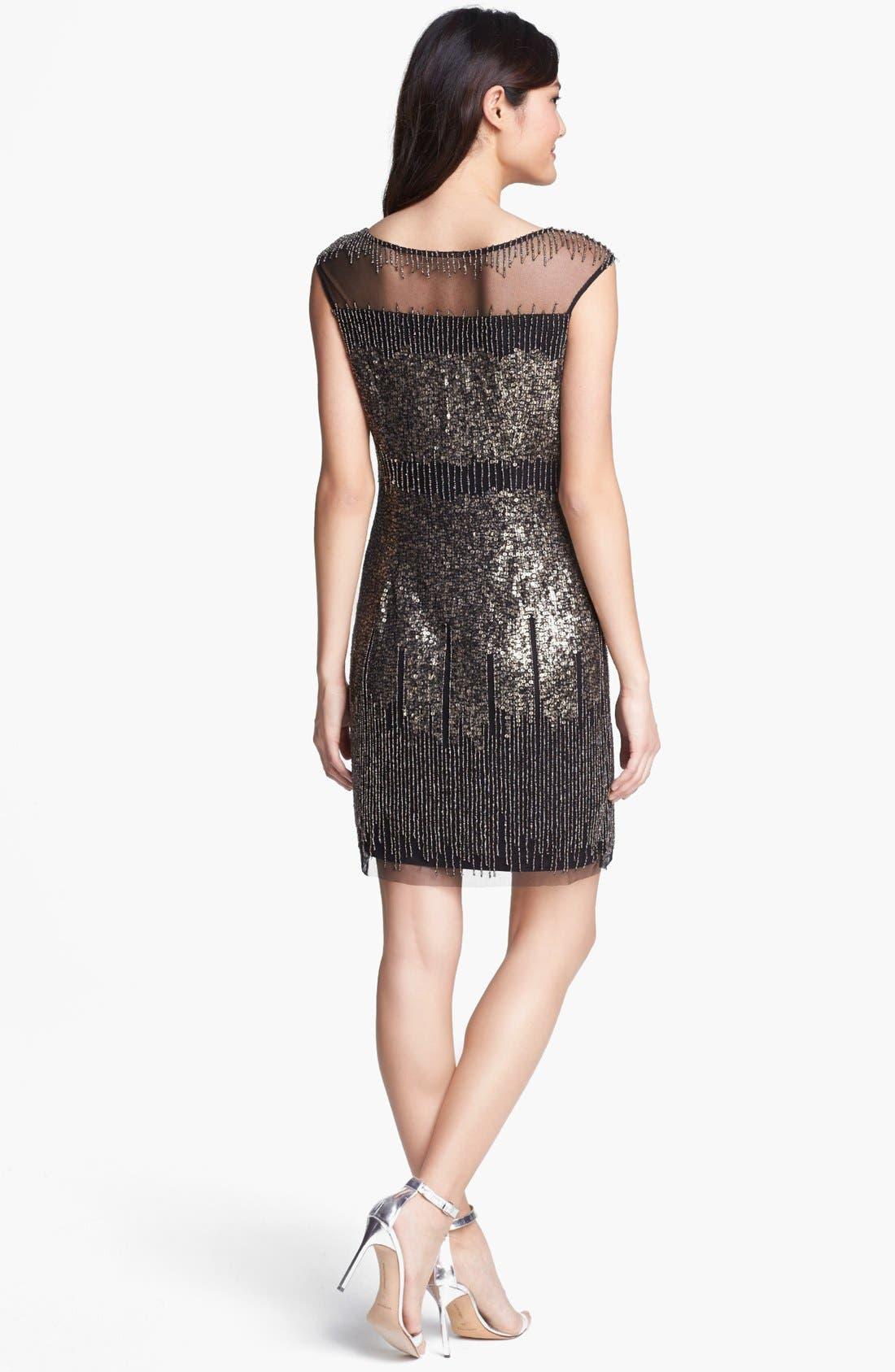 ADRIANNA PAPELL, Illusion Yoke Beaded Sheath Dress, Alternate thumbnail 3, color, 001