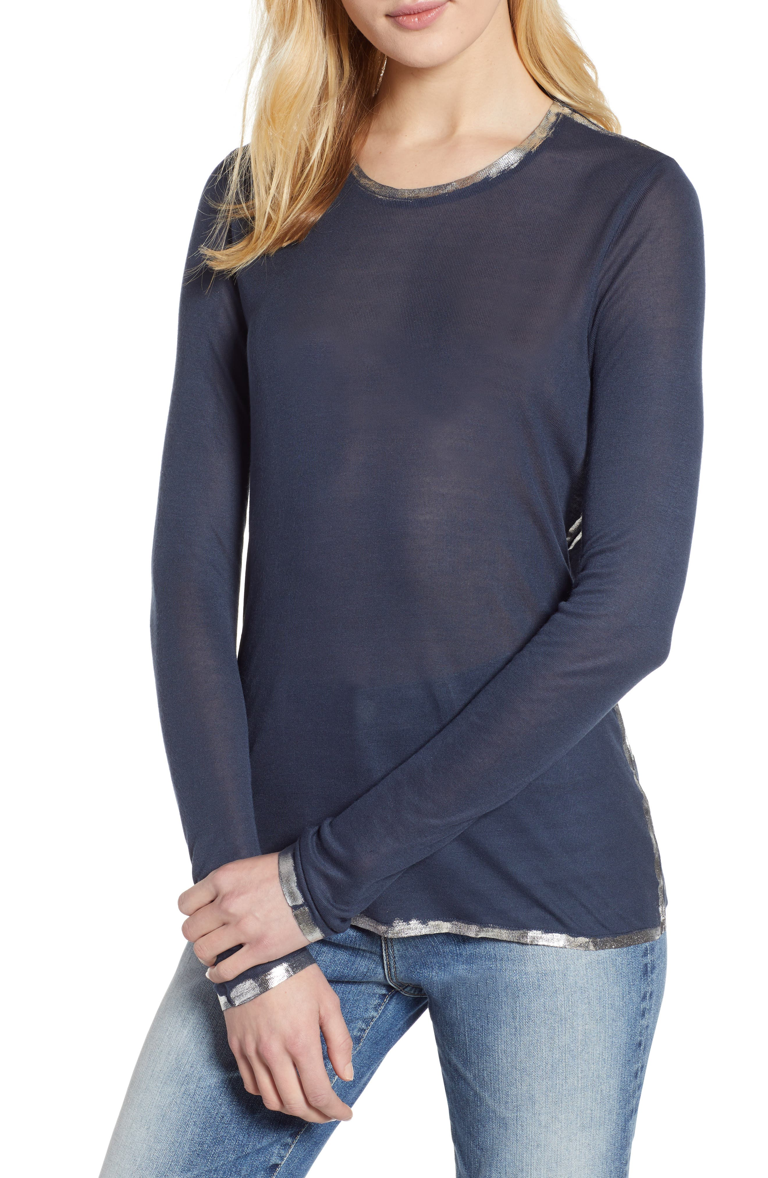 ZADIG & VOLTAIRE, Willy Foil Tee, Main thumbnail 1, color, MARINE
