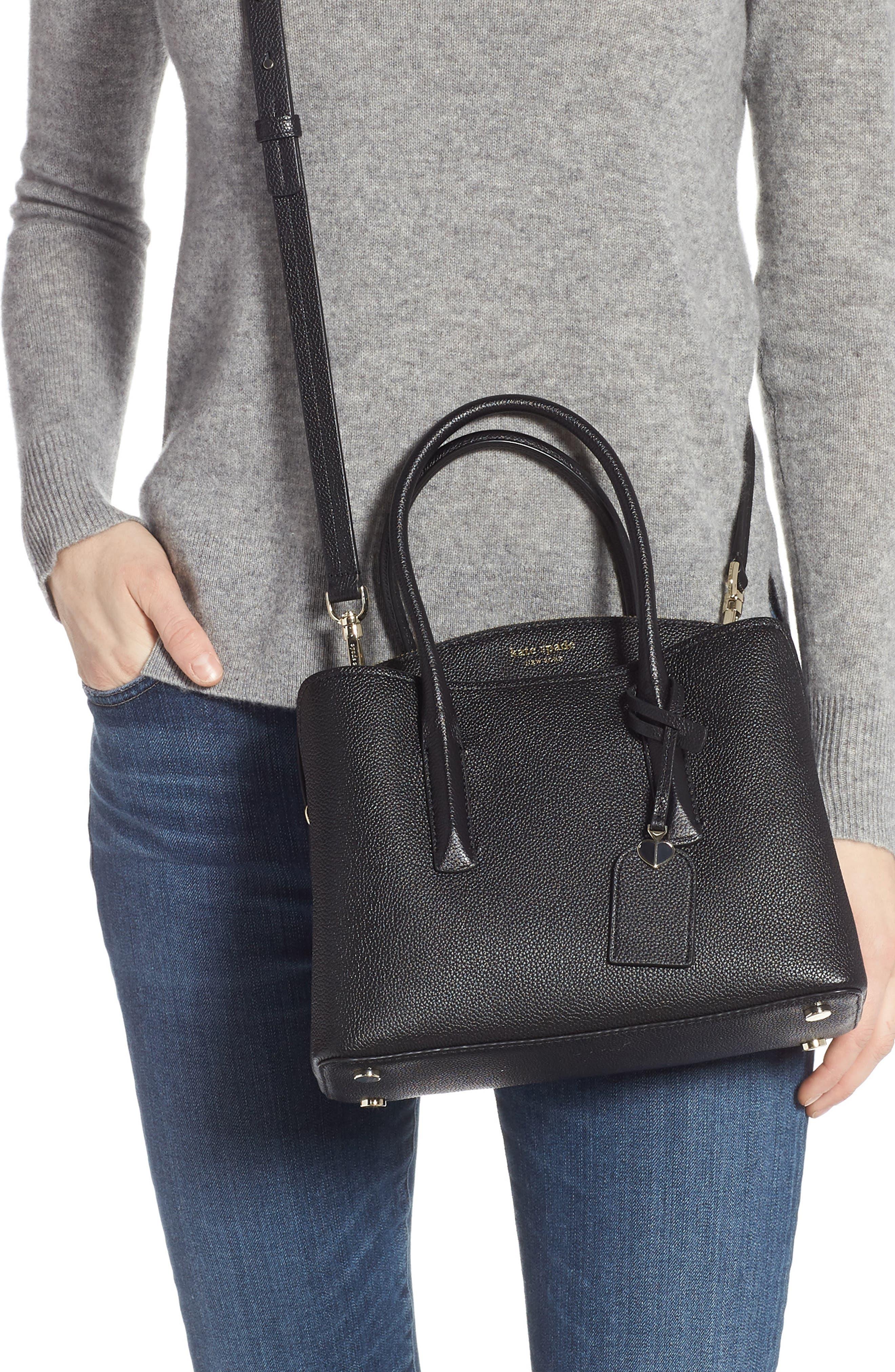 KATE SPADE NEW YORK, medium margaux leather satchel, Alternate thumbnail 2, color, BLACK
