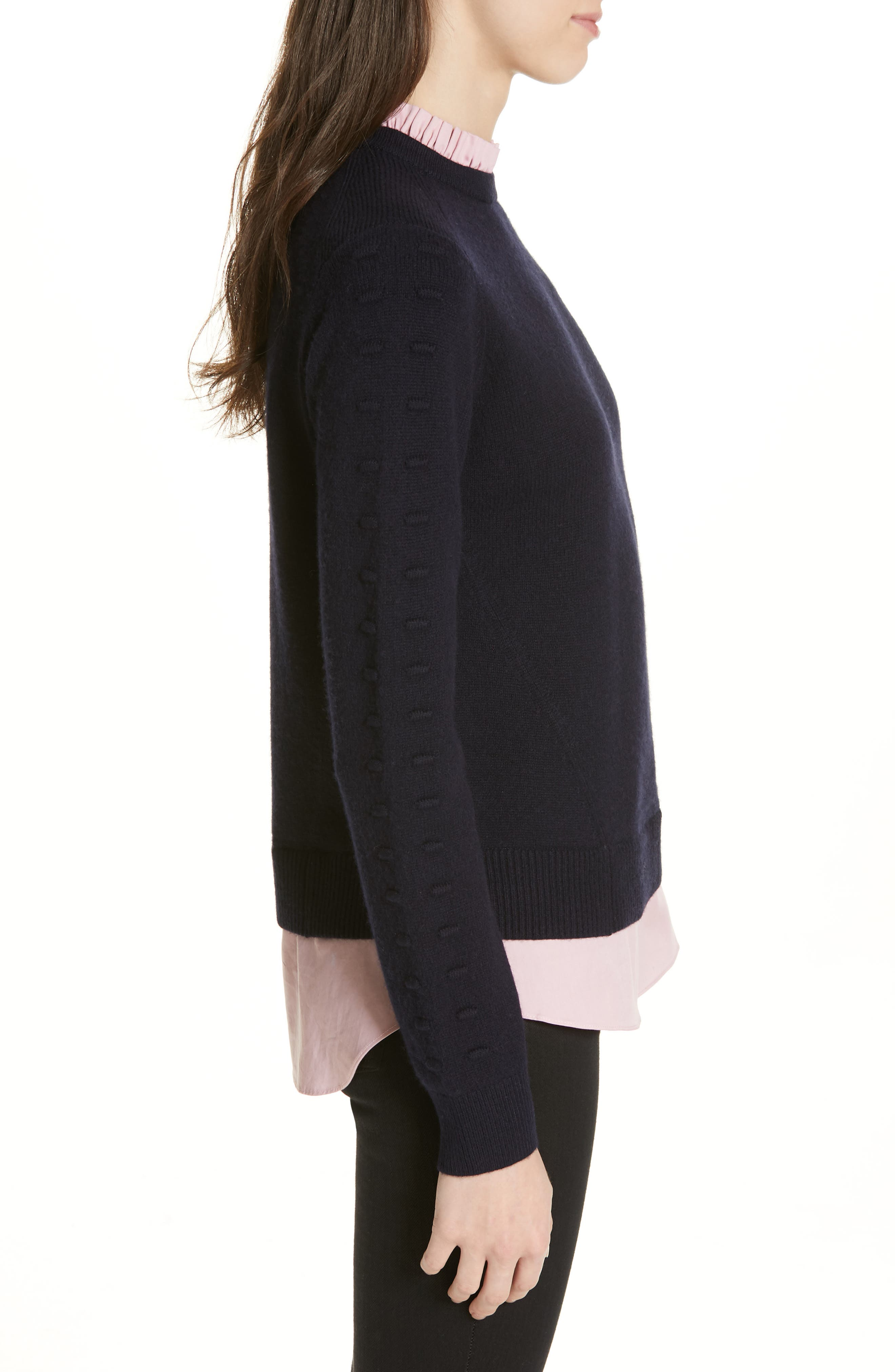 TED BAKER LONDON, Mock Two-Piece Sweater, Alternate thumbnail 3, color, NAVY