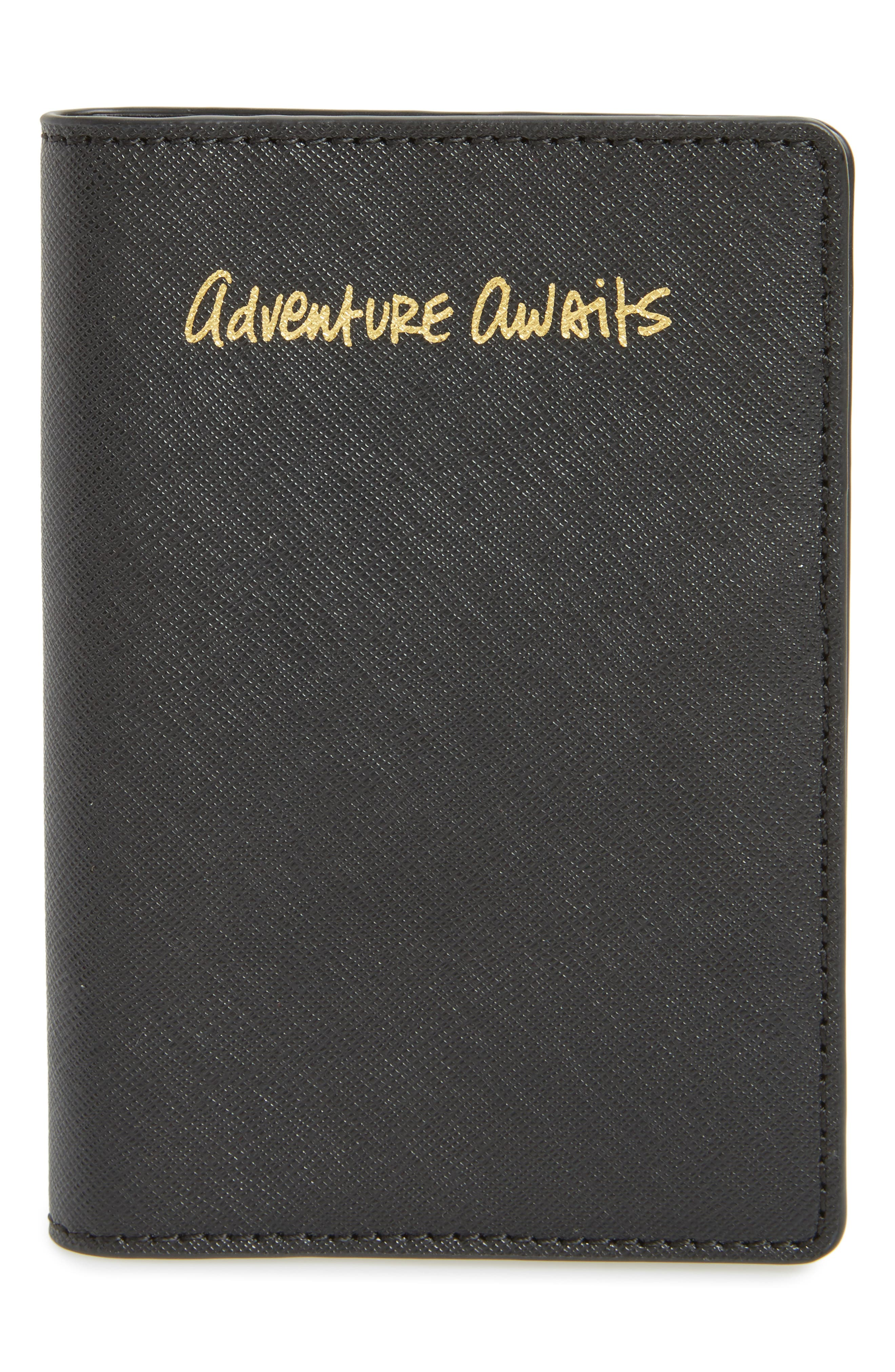 REBECCA MINKOFF Leather Passport Holder, Main, color, 001