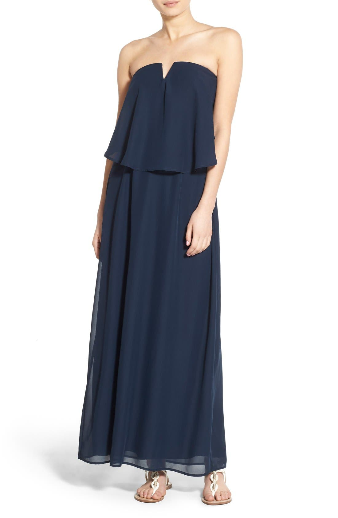 WAY-IN, Strapless Popover Maxi Dress, Main thumbnail 1, color, 411