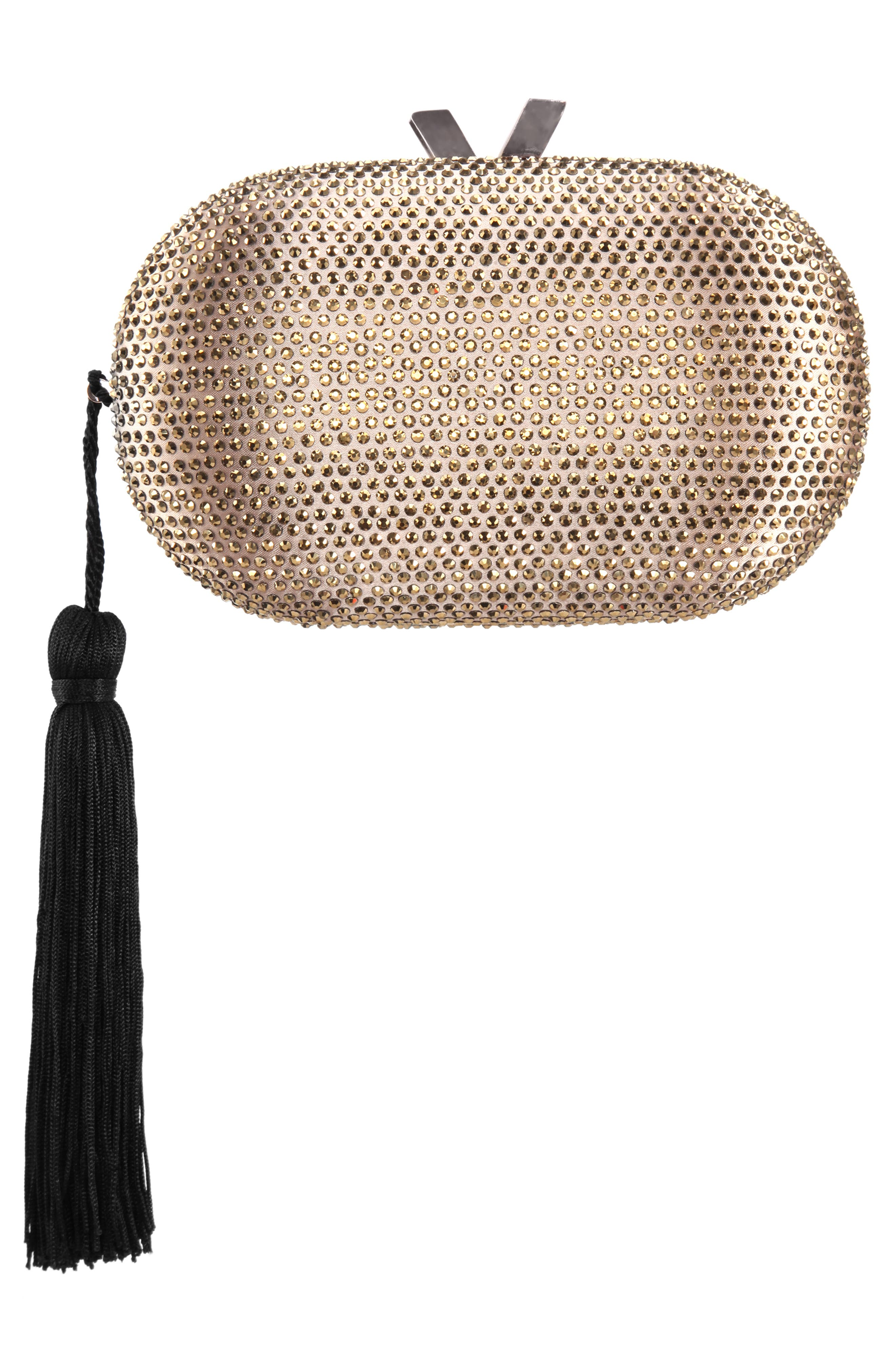 NINA, Oval Minaudière with Tassel, Alternate thumbnail 2, color, DARK GOLD