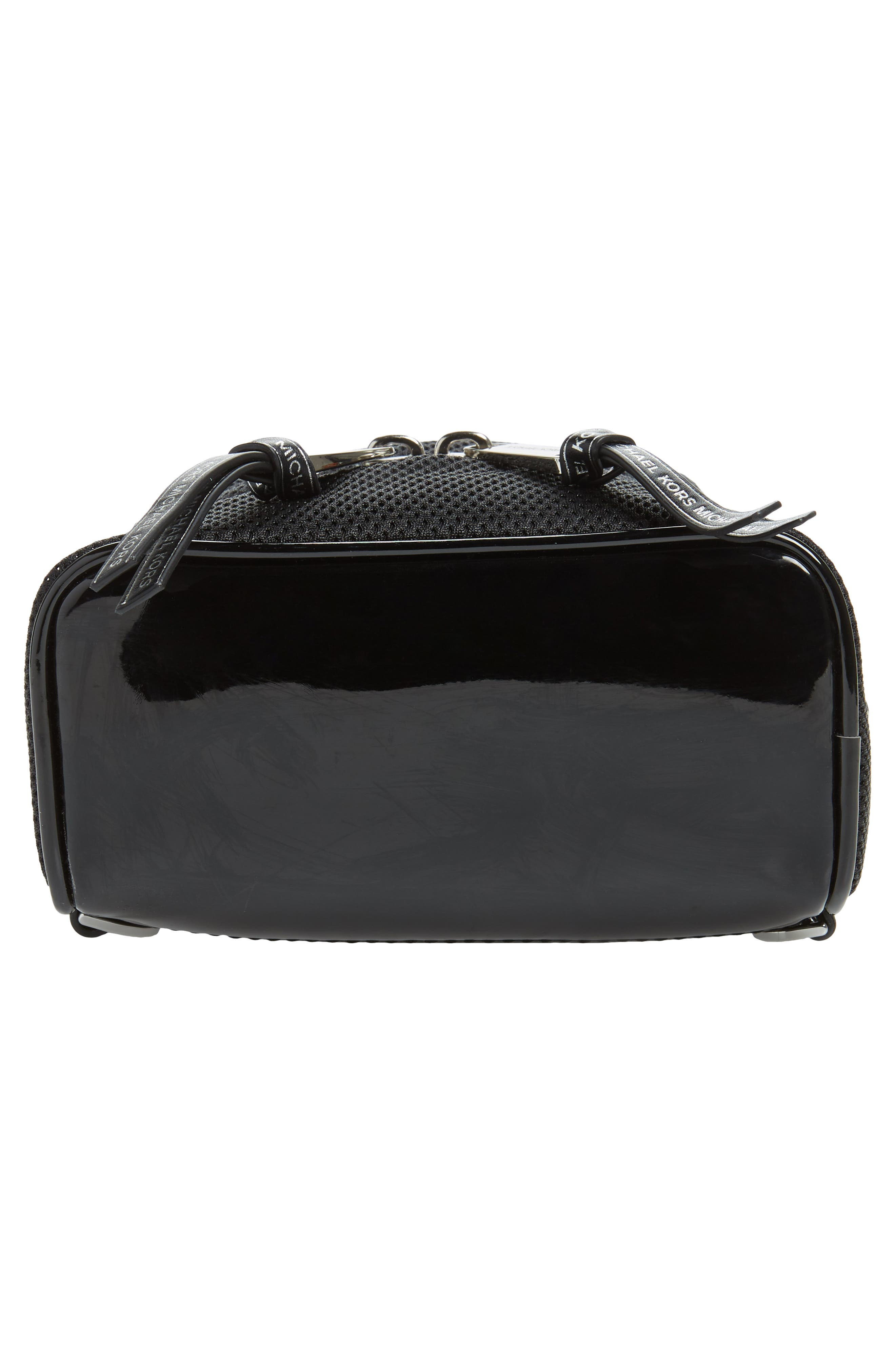 MICHAEL MICHAEL KORS, Extra Small Rhea Mesh Backpack, Alternate thumbnail 8, color, BLACK/ OPTIC WHITE