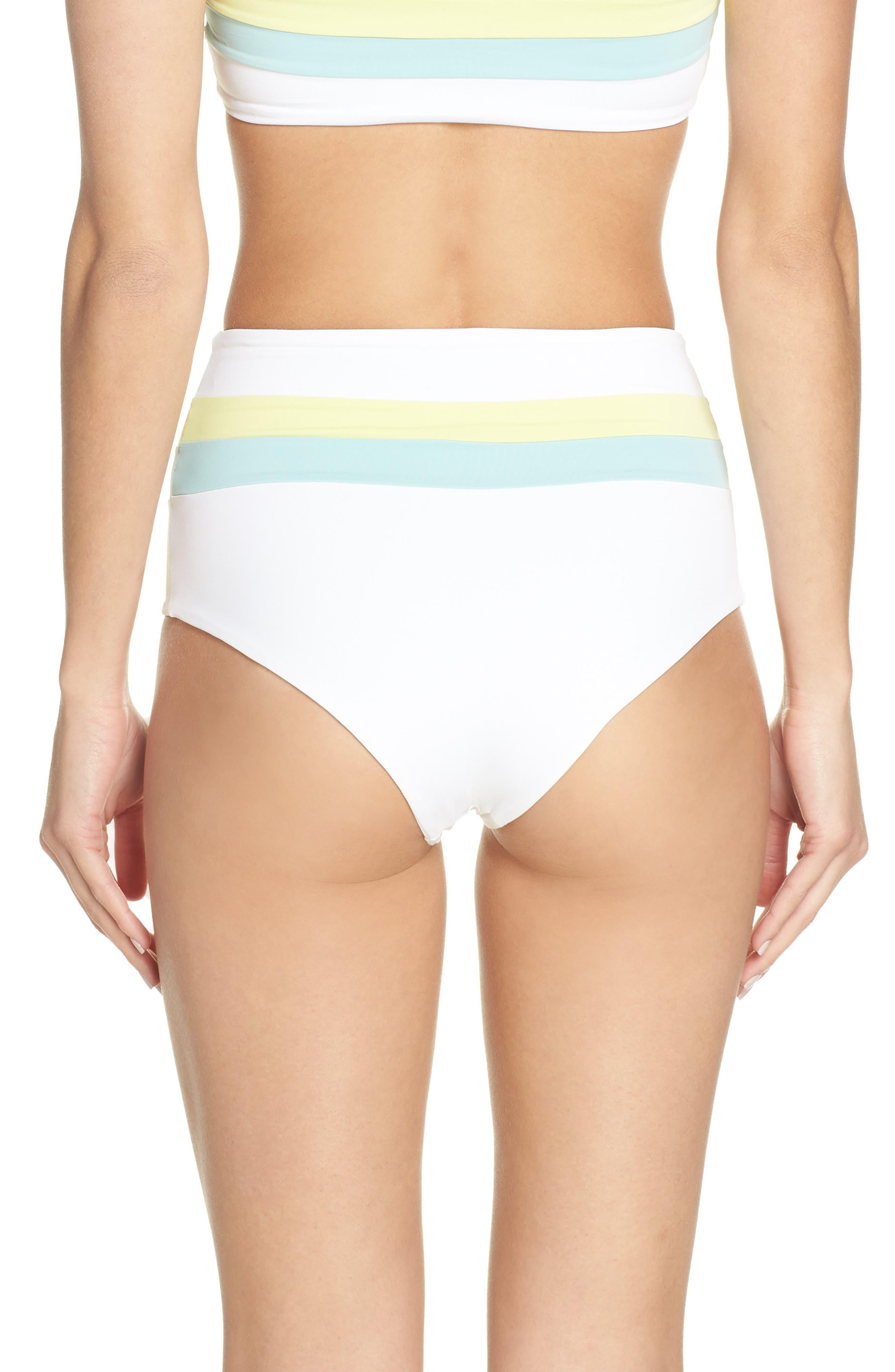 L SPACE, Portia Reversible High Waist Bikini Bottoms, Alternate thumbnail 3, color, WHITE/ LIGHT TURQ/ LEMONADE