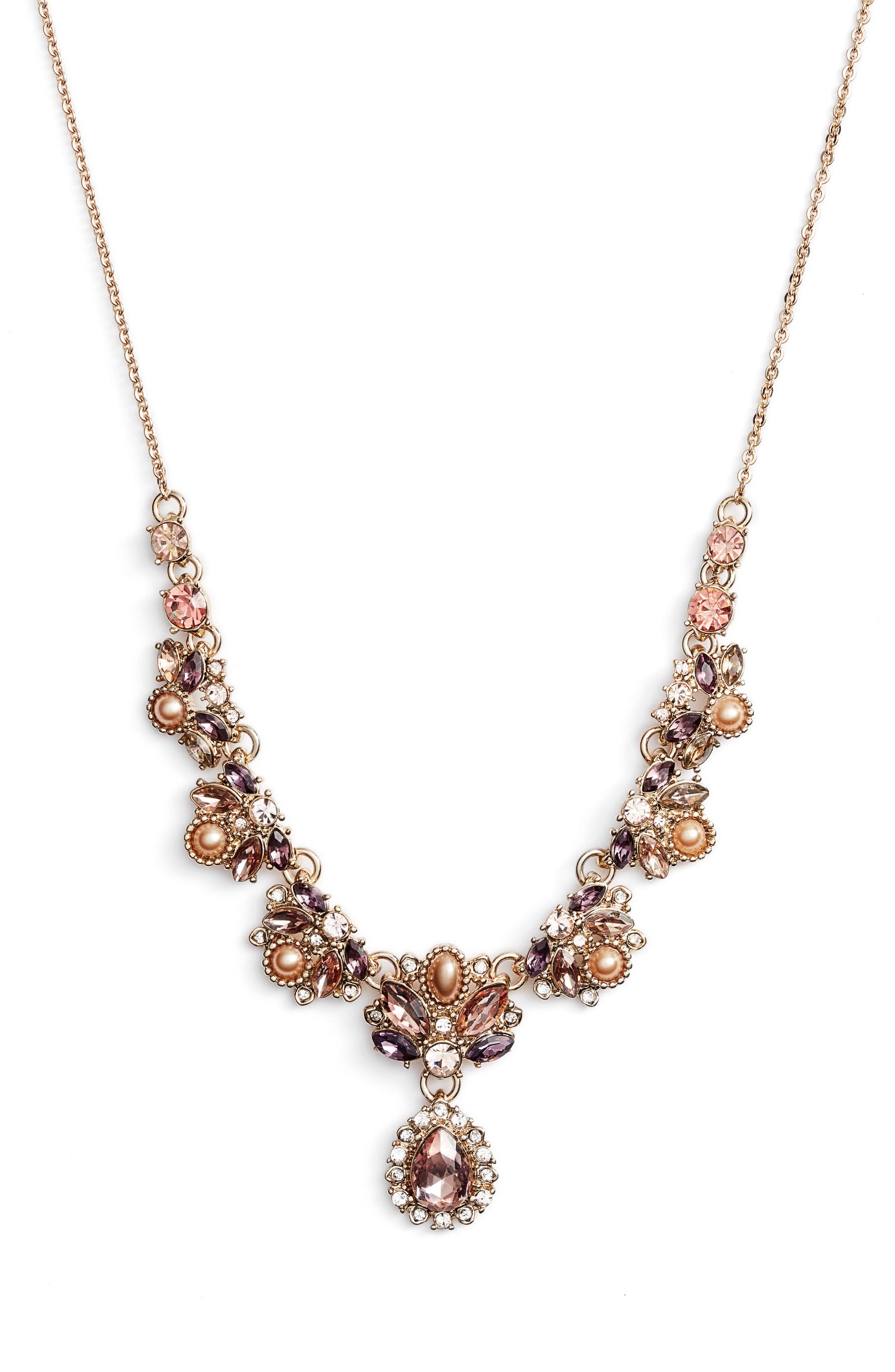 MARCHESA Crystal & Imitation Pearl Necklace, Main, color, GOLD/ BLUSH/ PURPLE