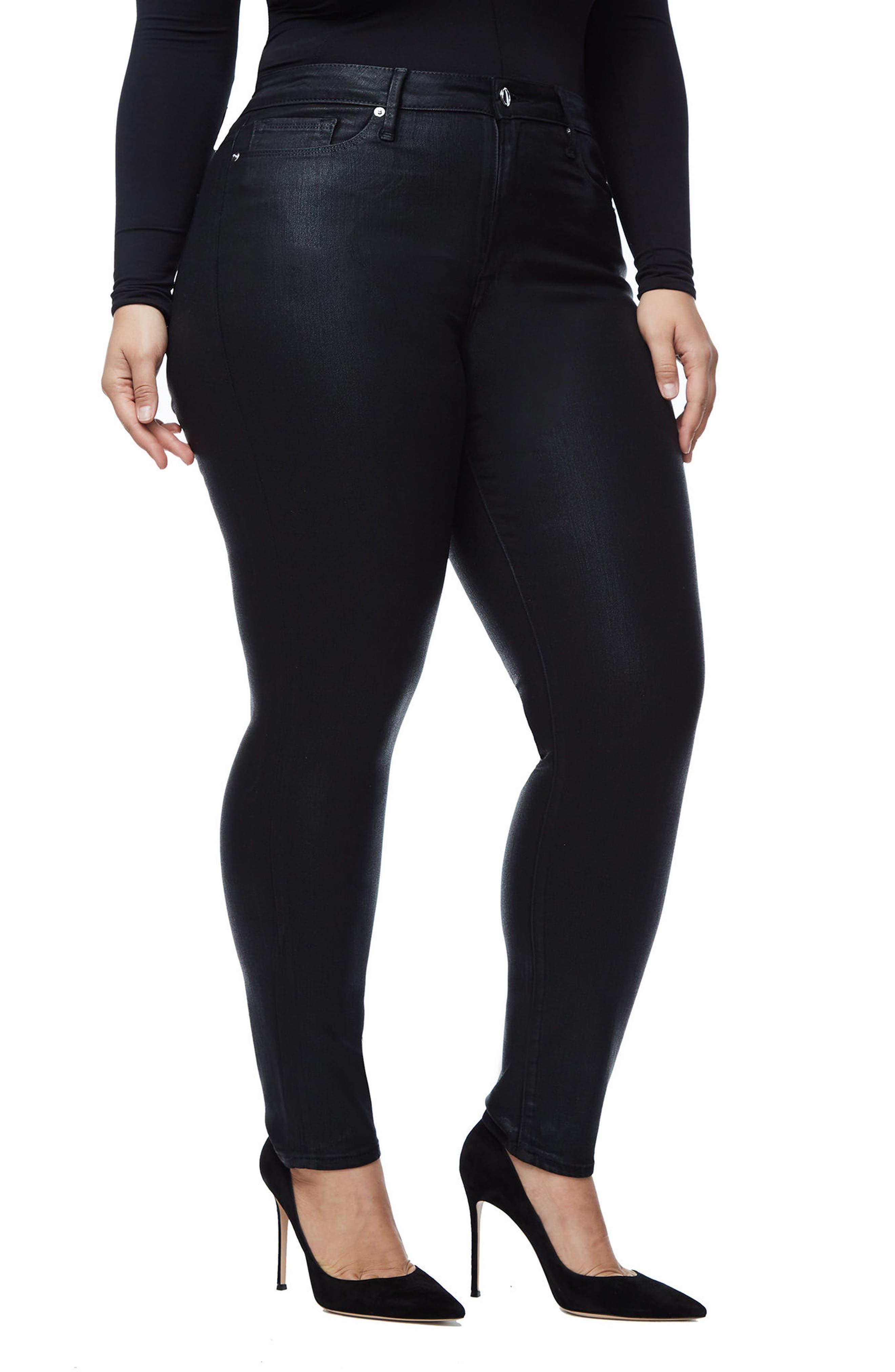 GOOD AMERICAN, Good Legs High Waist Skinny Jeans, Alternate thumbnail 8, color, BLACK