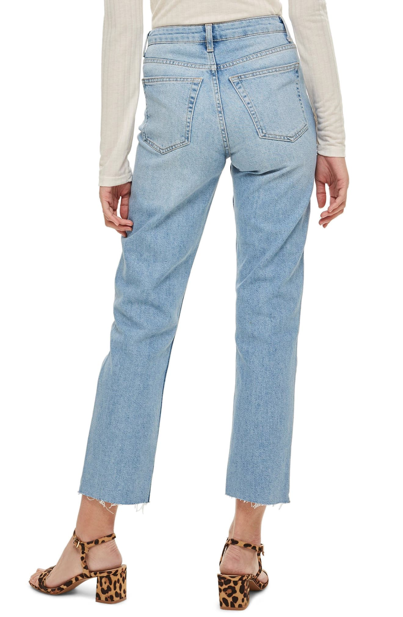 TOPSHOP, Raw Hem Straight Leg Jeans, Alternate thumbnail 2, color, BLEACH