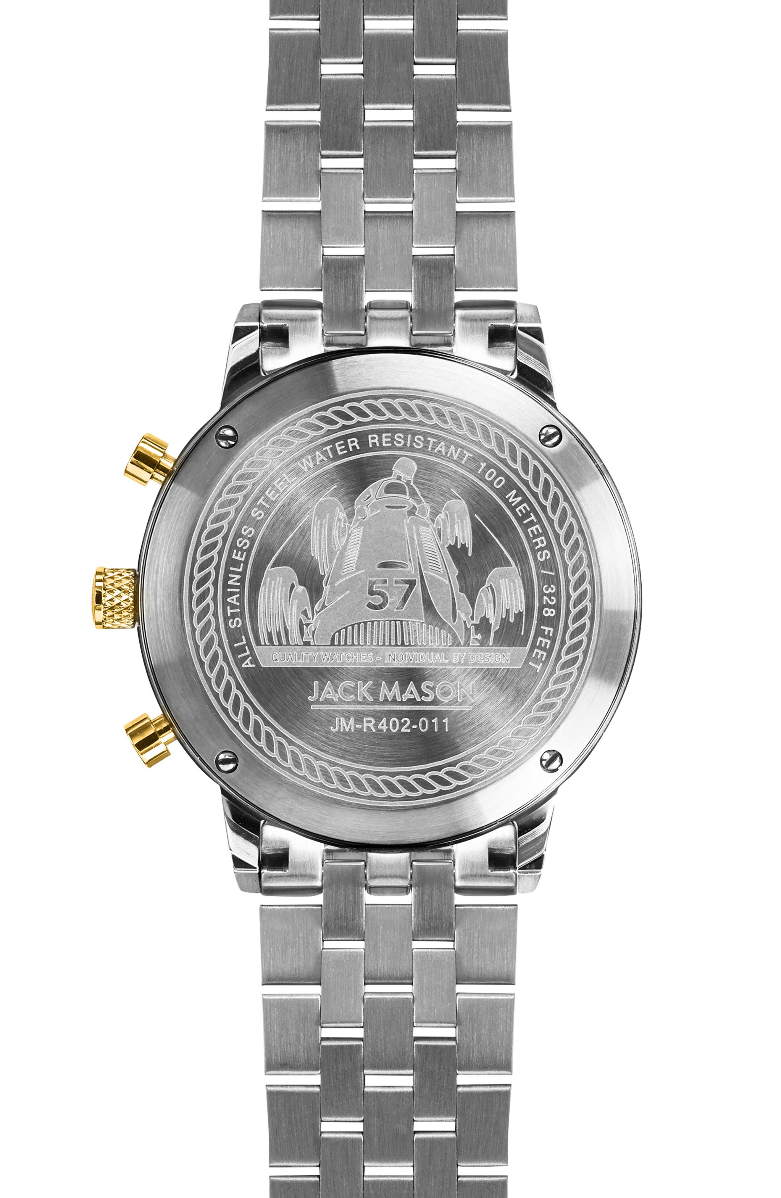JACK MASON, Racing Chronograph Bracelet Watch, 40mm, Alternate thumbnail 2, color, WHITE/ SILVER/ GOLD