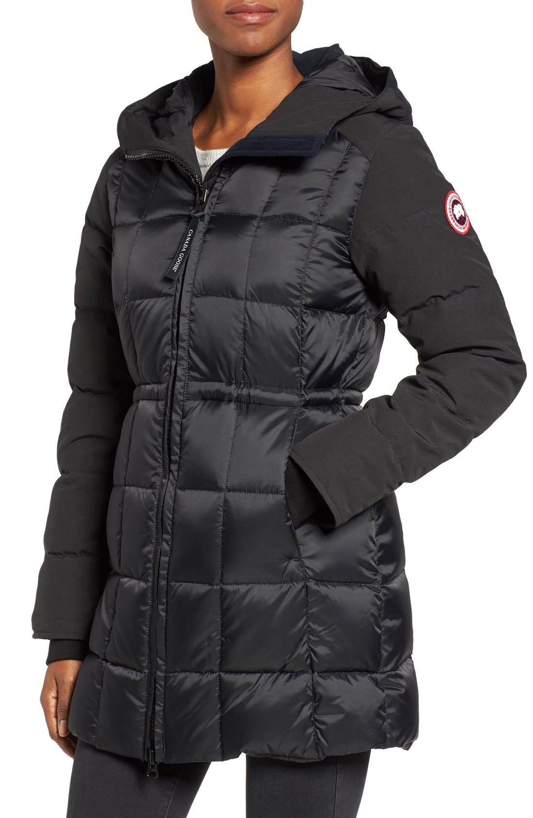 CANADA GOOSE, Beechwood Down Parka with Genuine Coyote Fur Trim, Alternate thumbnail 2, color, BLACK