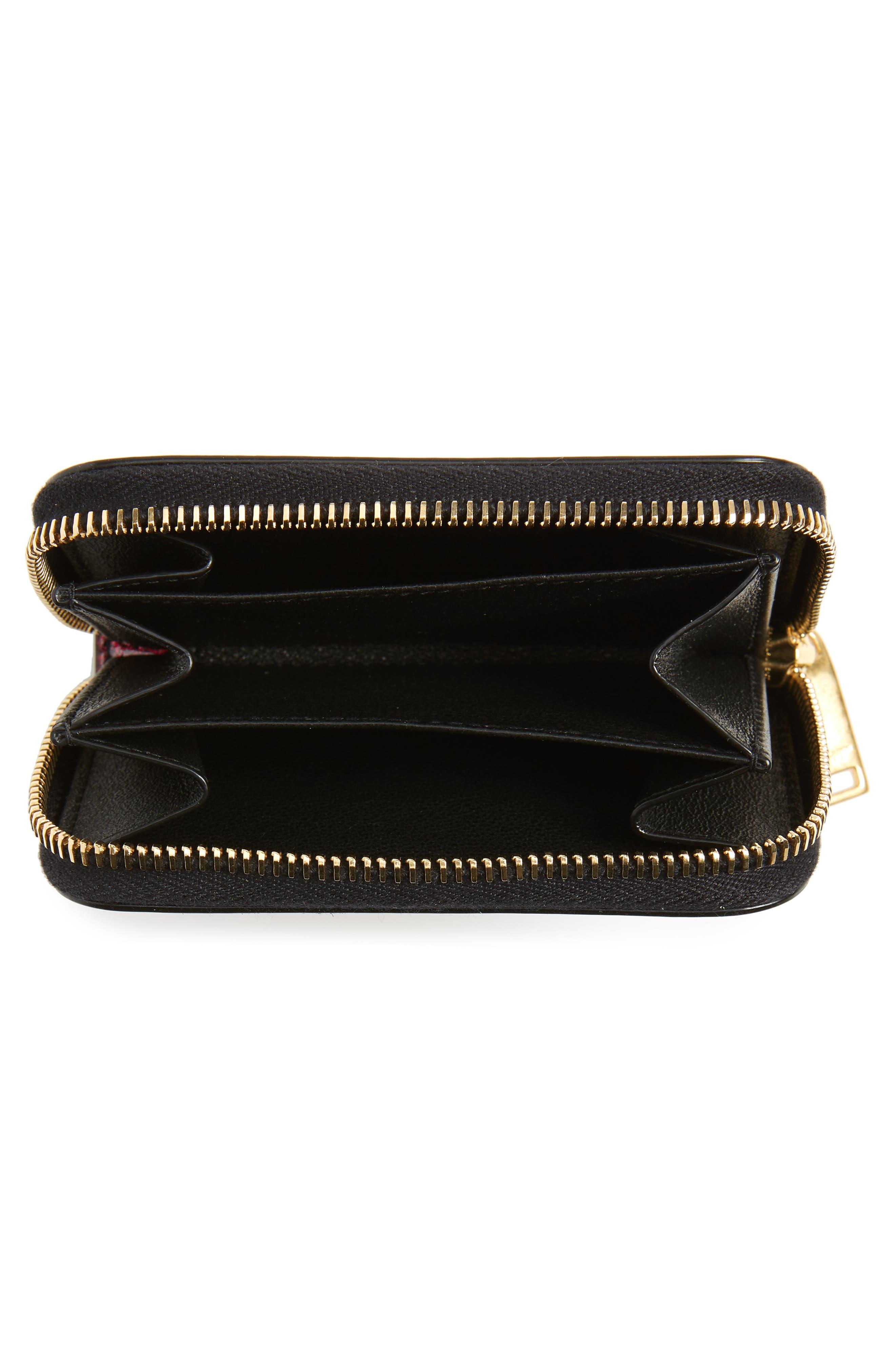 SAINT LAURENT, Glitter Calfskin Leather Wallet, Alternate thumbnail 2, color, SHOCKING PINK/ NOIR