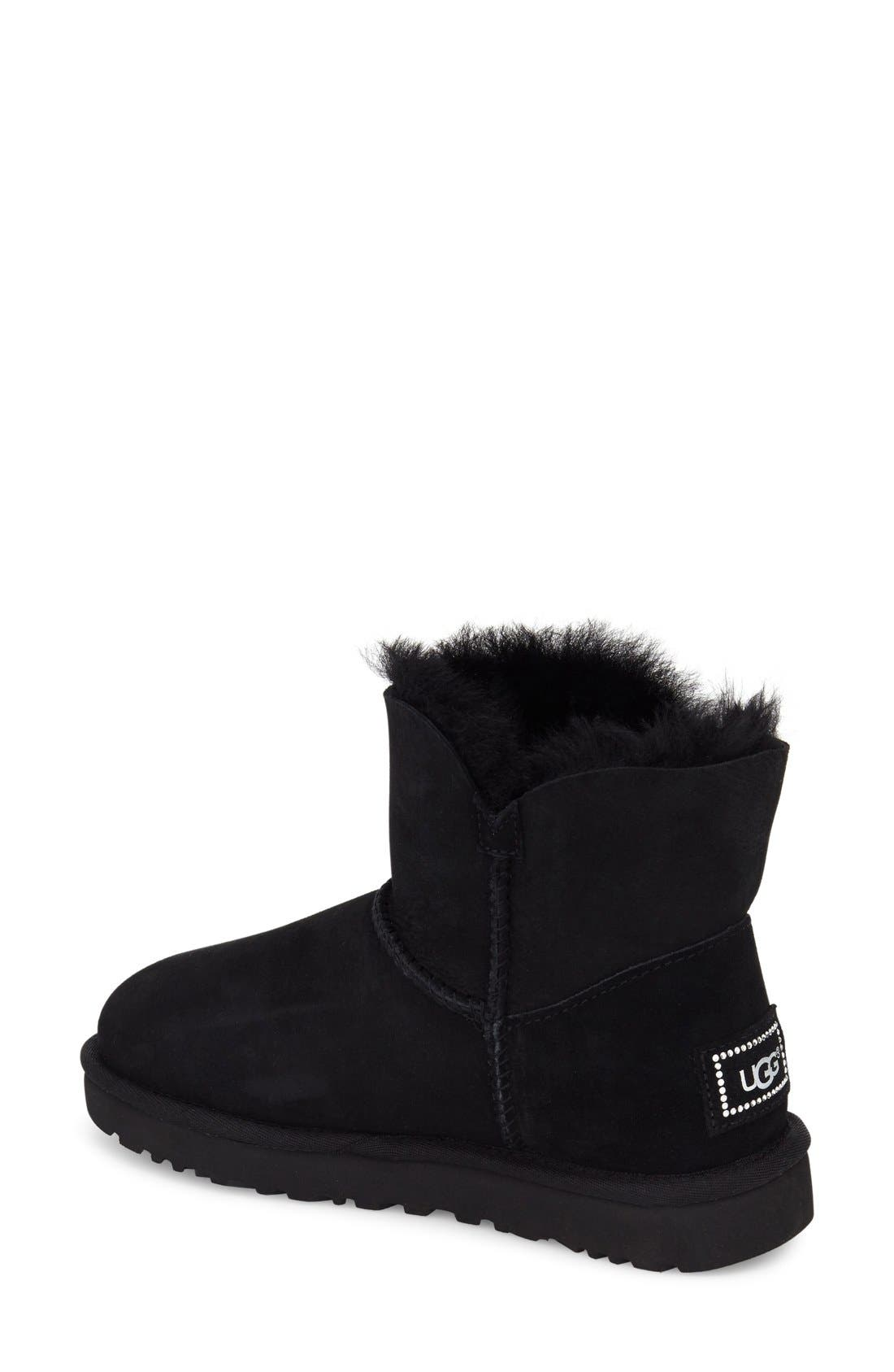 UGG<SUP>®</SUP>, Mini Bailey Button Bling Boot, Alternate thumbnail 2, color, BLACK SUEDE