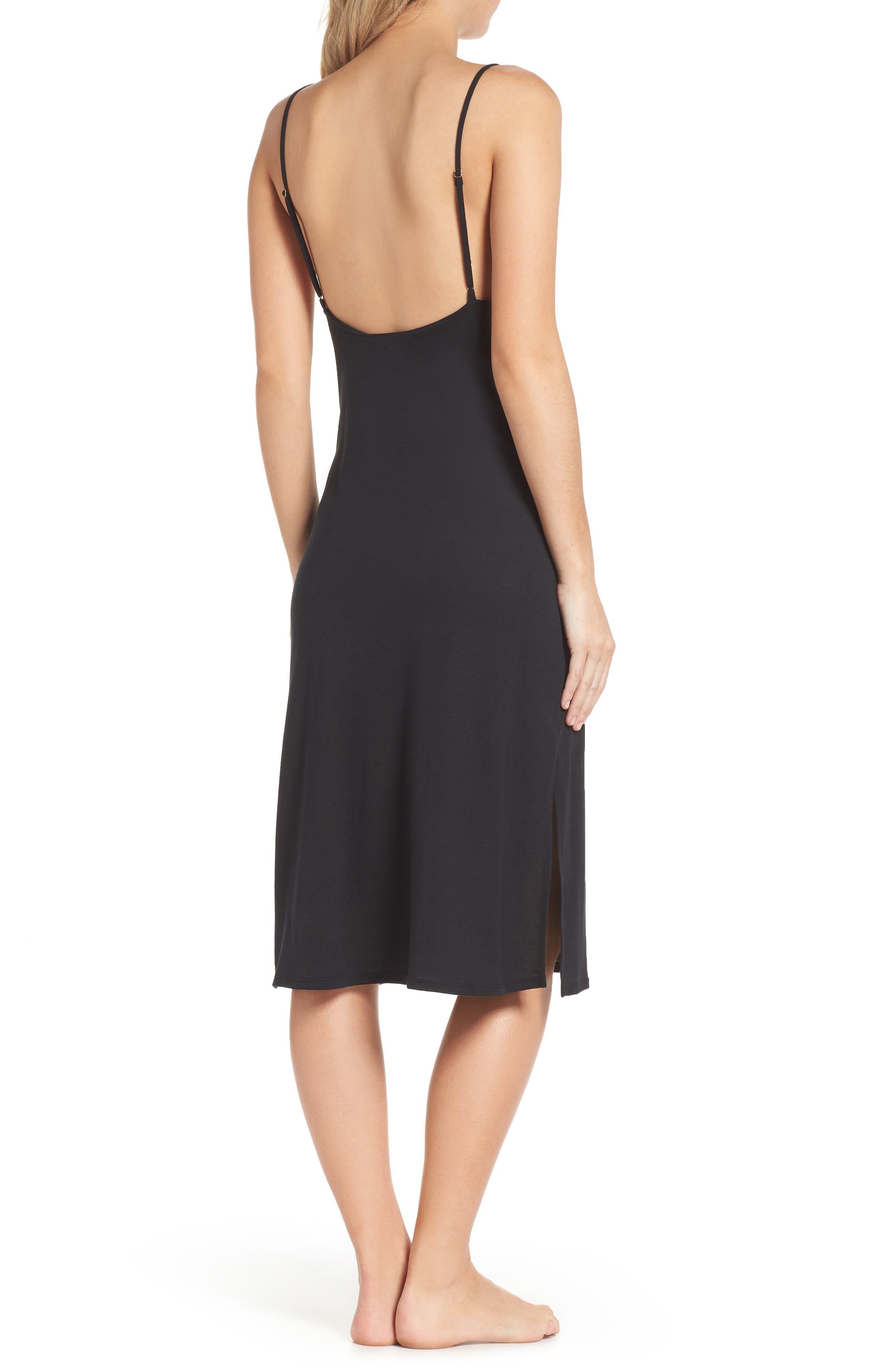 NATORI, Luxe Shangri-La Nightgown, Alternate thumbnail 2, color, BLACK
