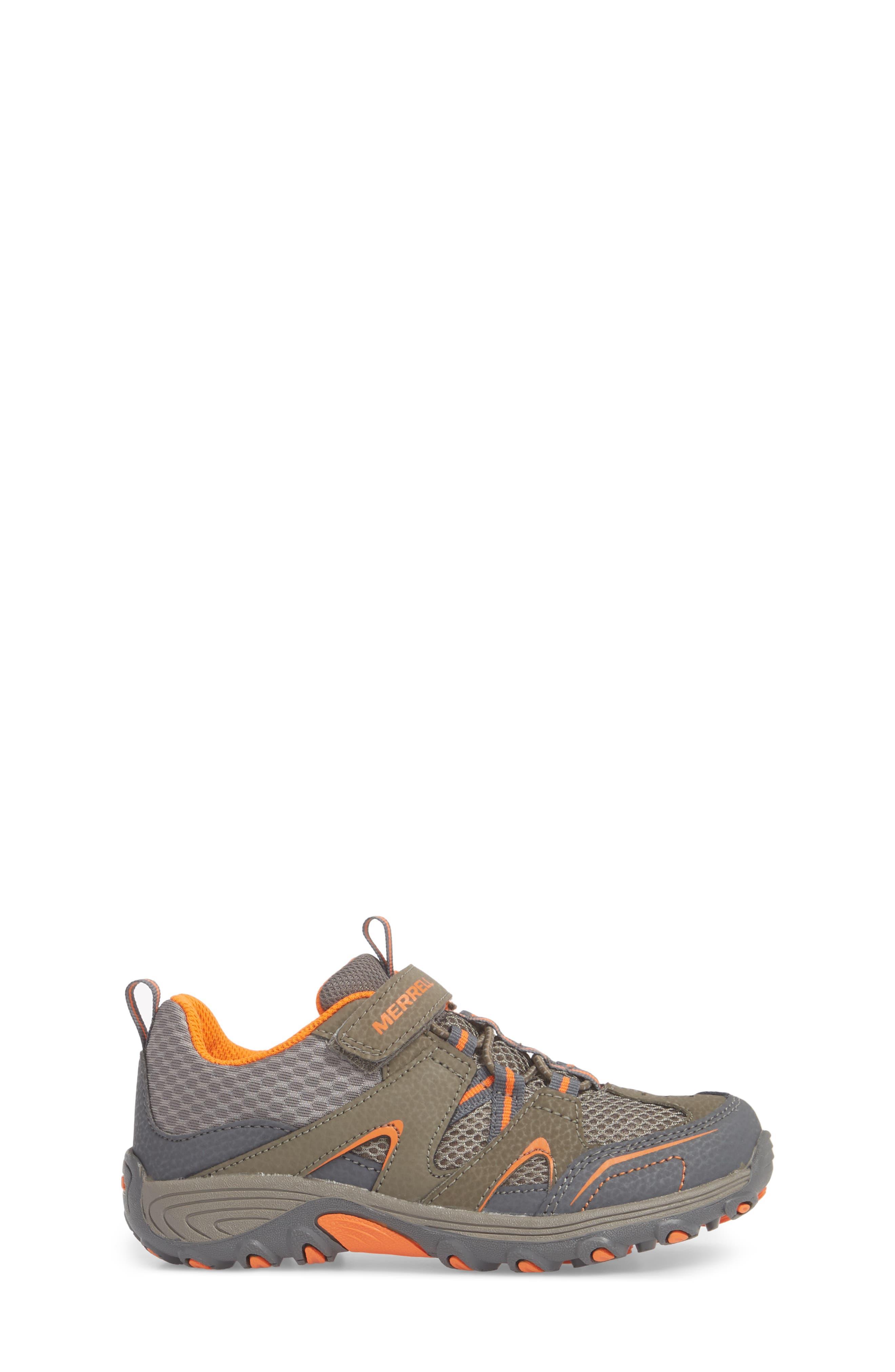 MERRELL, Trail Chaser Sneaker, Alternate thumbnail 3, color, GUNSMOKE/ ORANGE