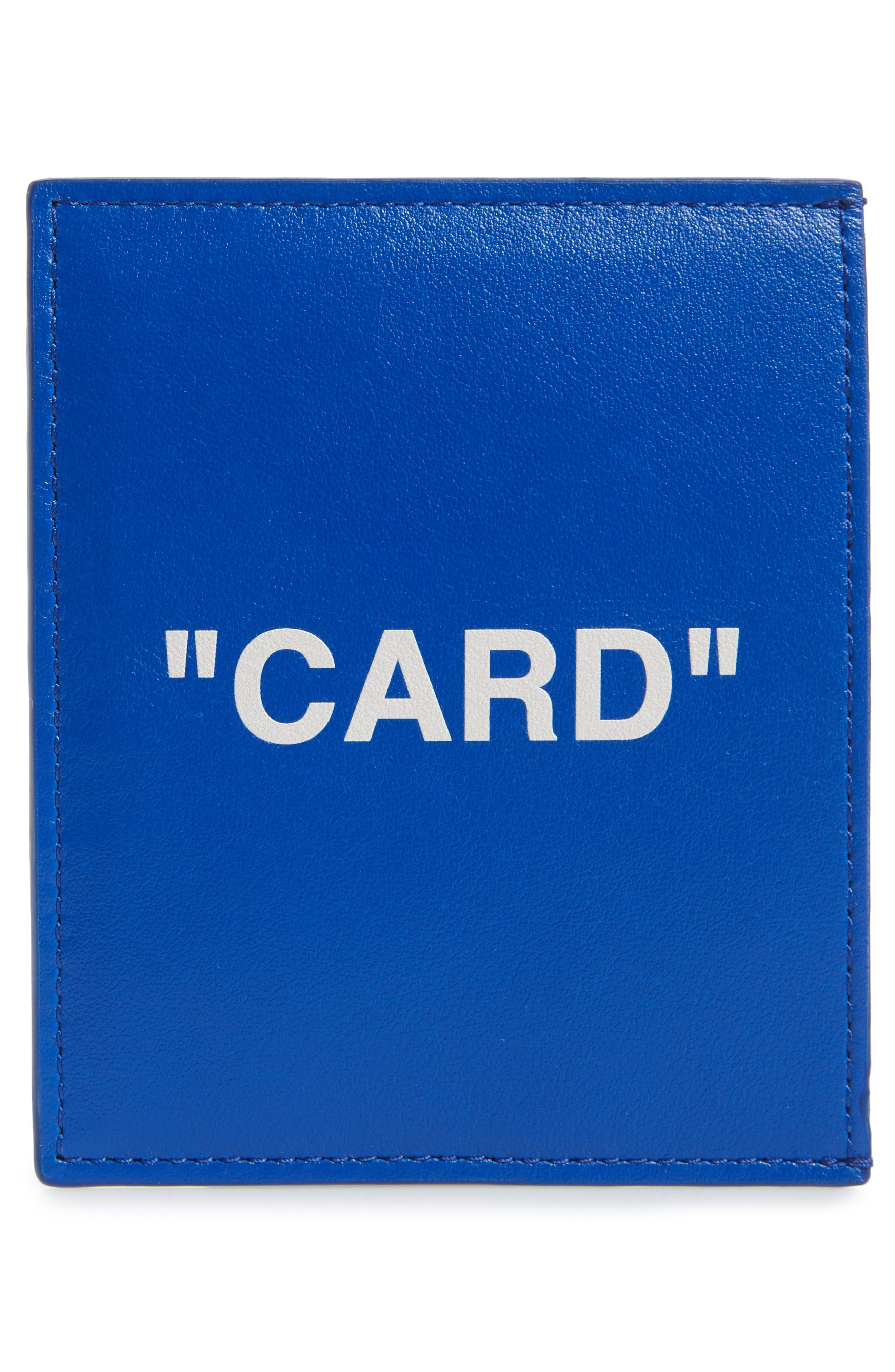 OFF-WHITE, Quote Leather Card Case, Alternate thumbnail 2, color, BLUE/WHITE