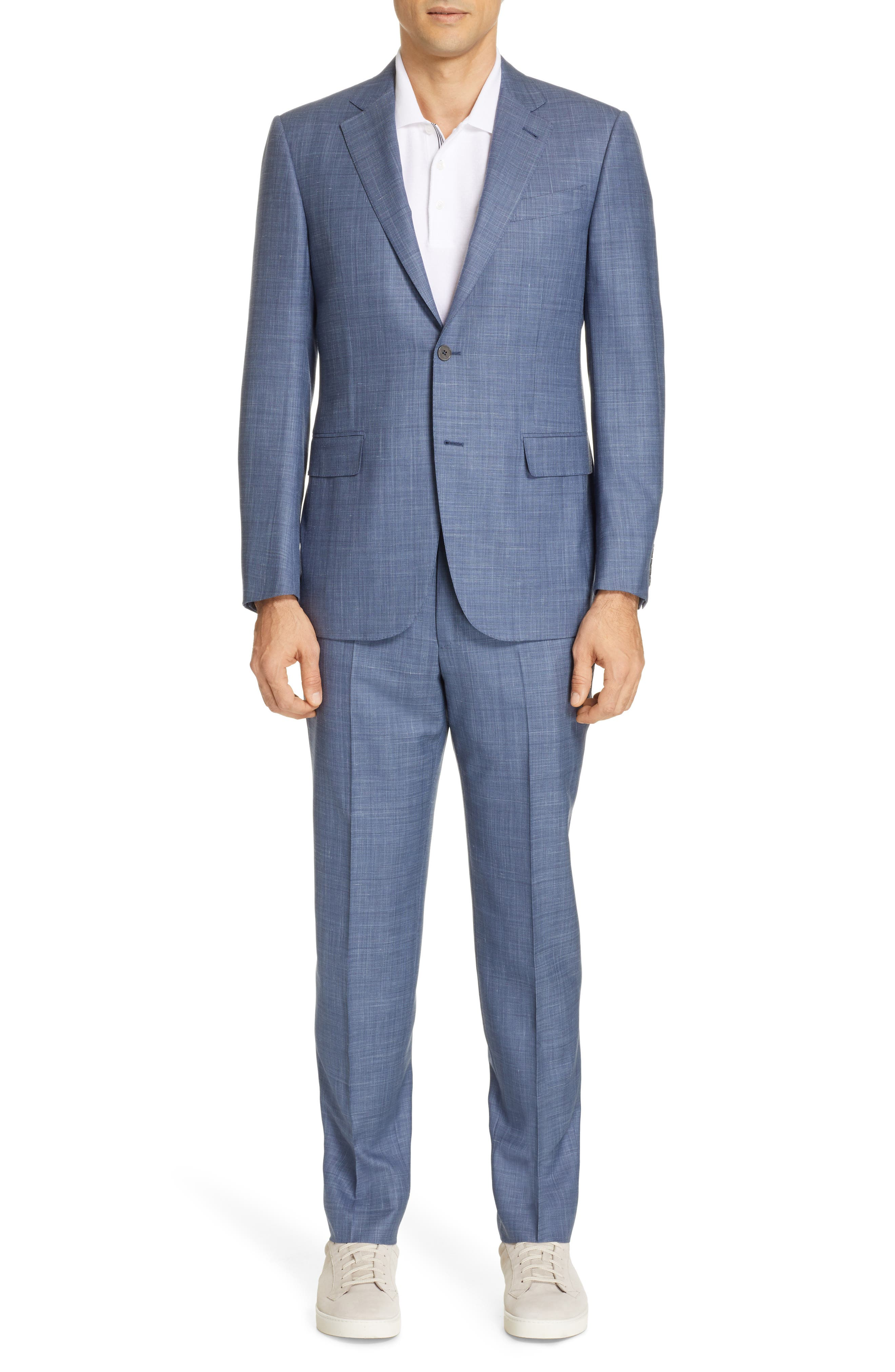 ERMENEGILDO ZEGNA, Trofeo Classic Fit Solid Wool Blend Suit, Main thumbnail 1, color, BLUE