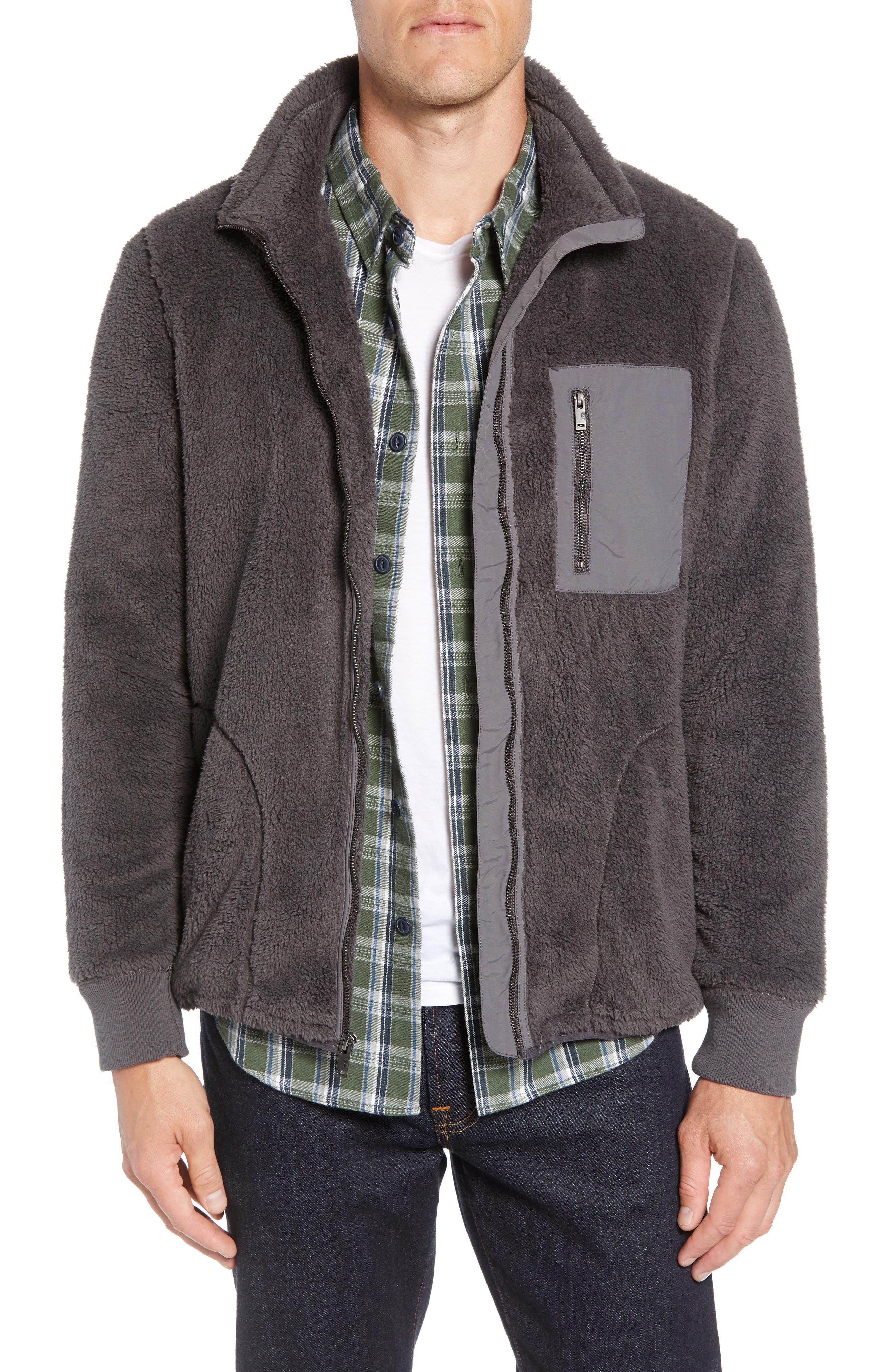 UGG<SUP>®</SUP>, Lucas High Pile Fleece Sweater Jacket, Main thumbnail 1, color, CHARCOAL
