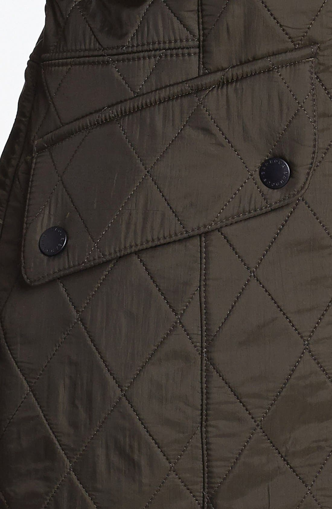 BARBOUR, 'Cavalry' Quilted Jacket, Alternate thumbnail 9, color, DARK OLIVE/ OLIVE