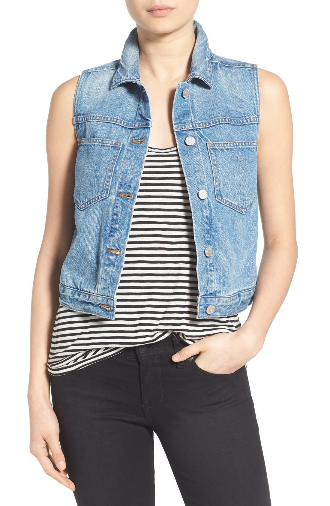 MADEWELL Chest Pocket Denim Vest, Main, color, 400