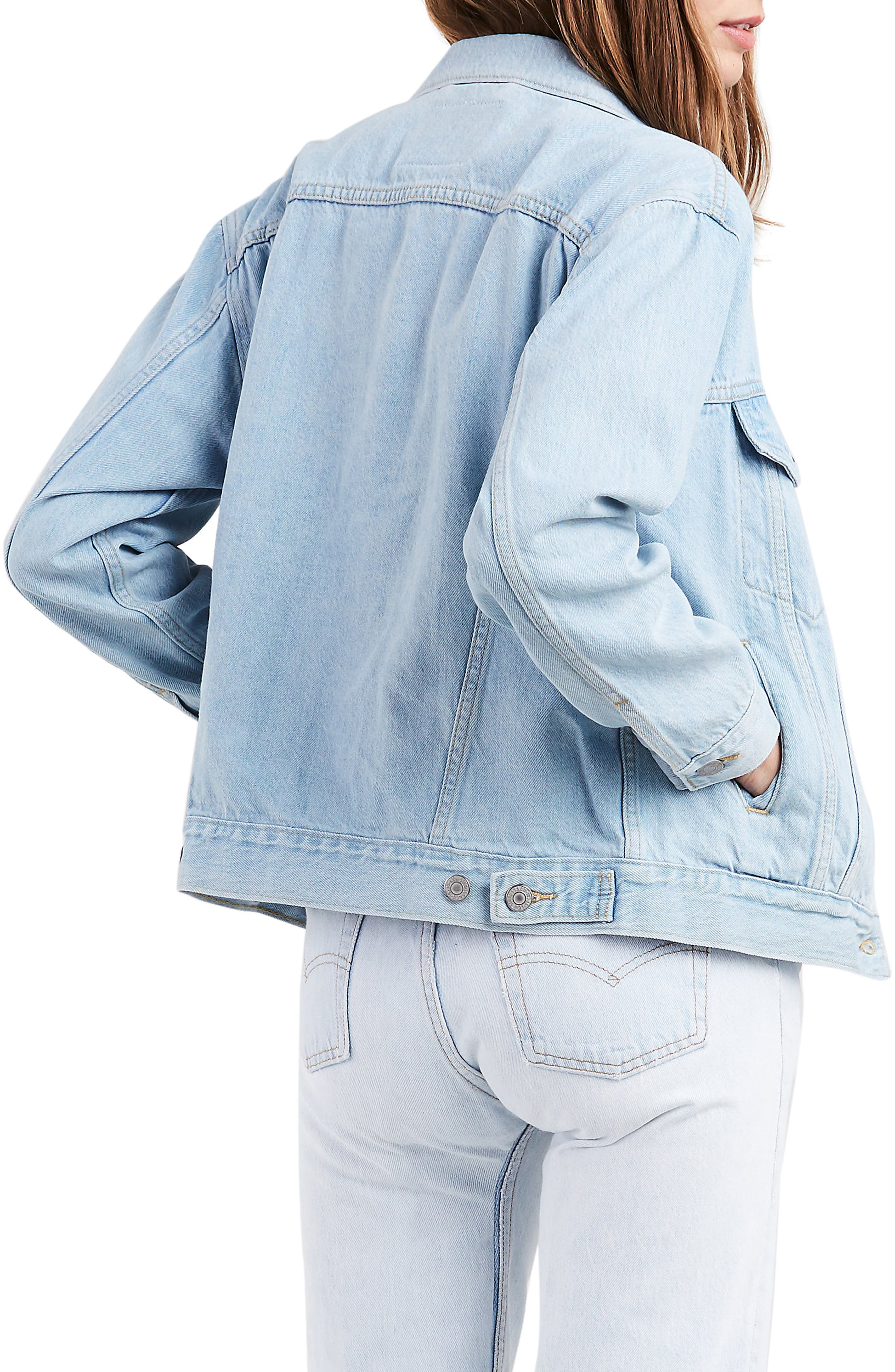 LEVI'S<SUP>®</SUP>, Ex-Boyfriend Denim Trucker Jacket, Alternate thumbnail 2, color, 420