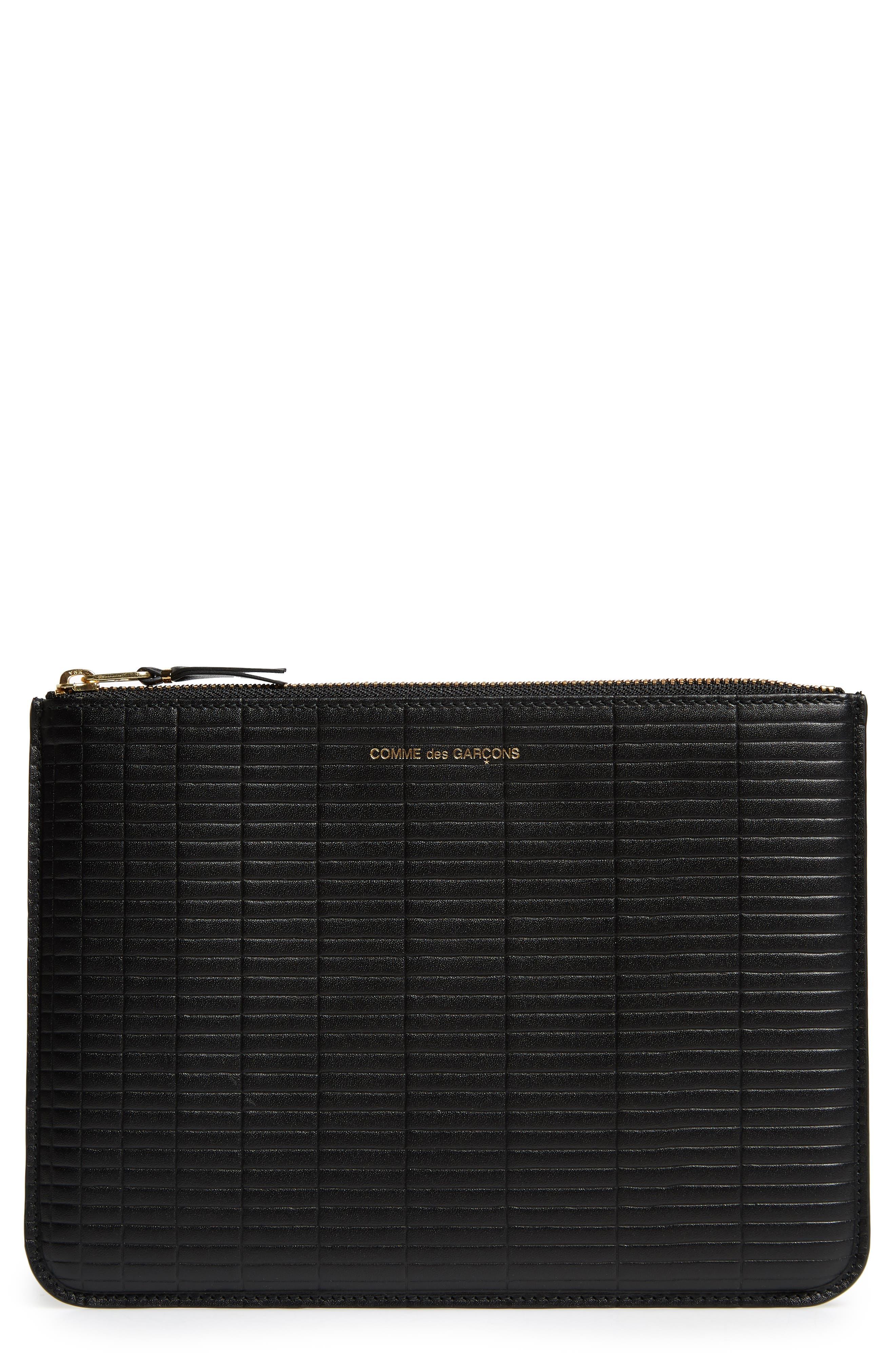 COMME DES GARÇONS Brick Line Embossed Leather Pouch, Main, color, BLACK