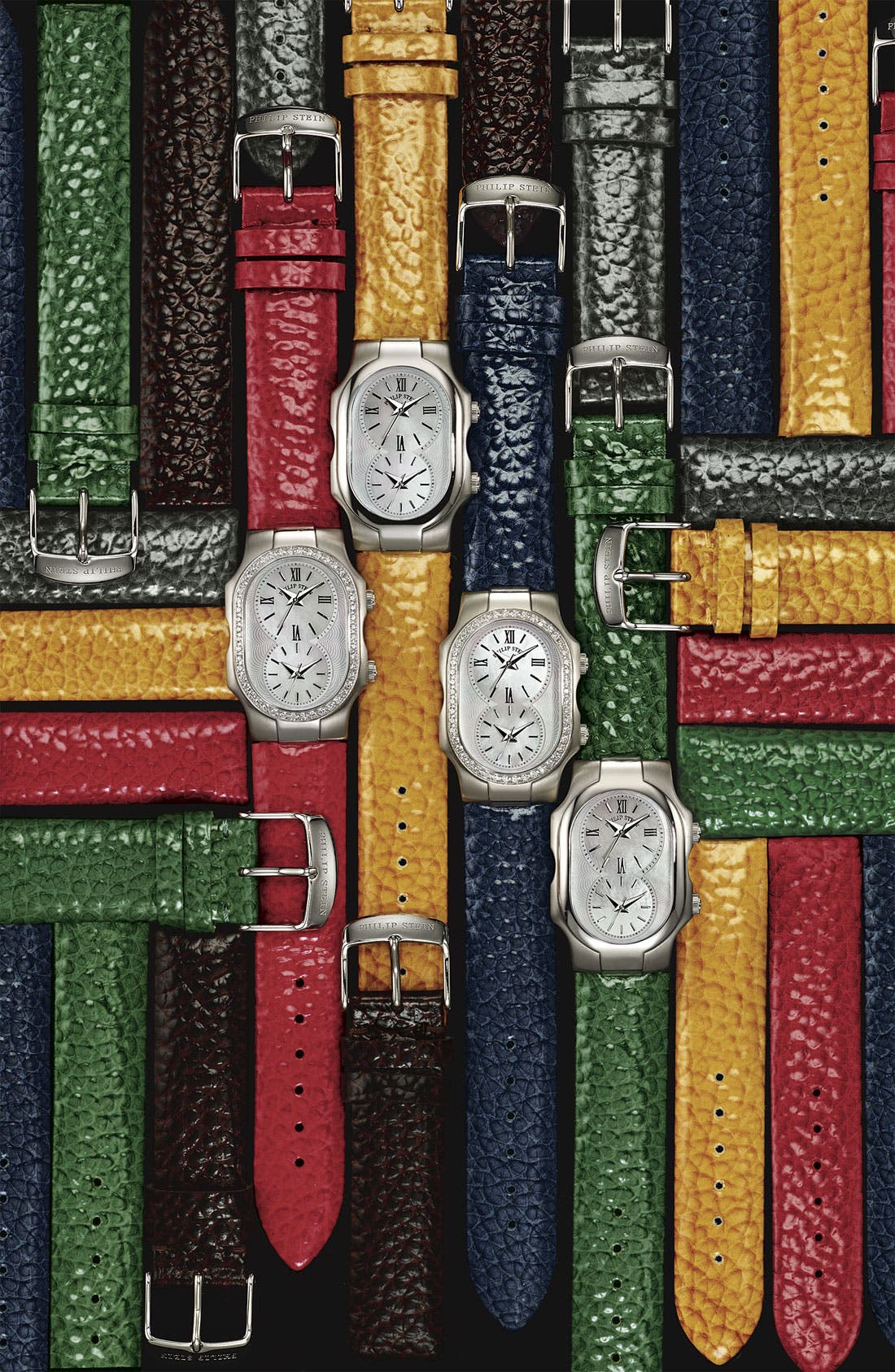 PHILIP STEIN<SUP>®</SUP>, 18mm Calfskin Watch Strap, Alternate thumbnail 2, color, 001