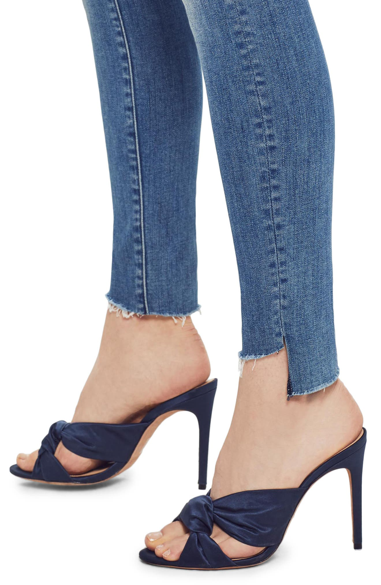 MOTHER, The Looker Frayed Step Hem Ankle Skinny Jeans, Alternate thumbnail 5, color, WHERE THERES SMOKE