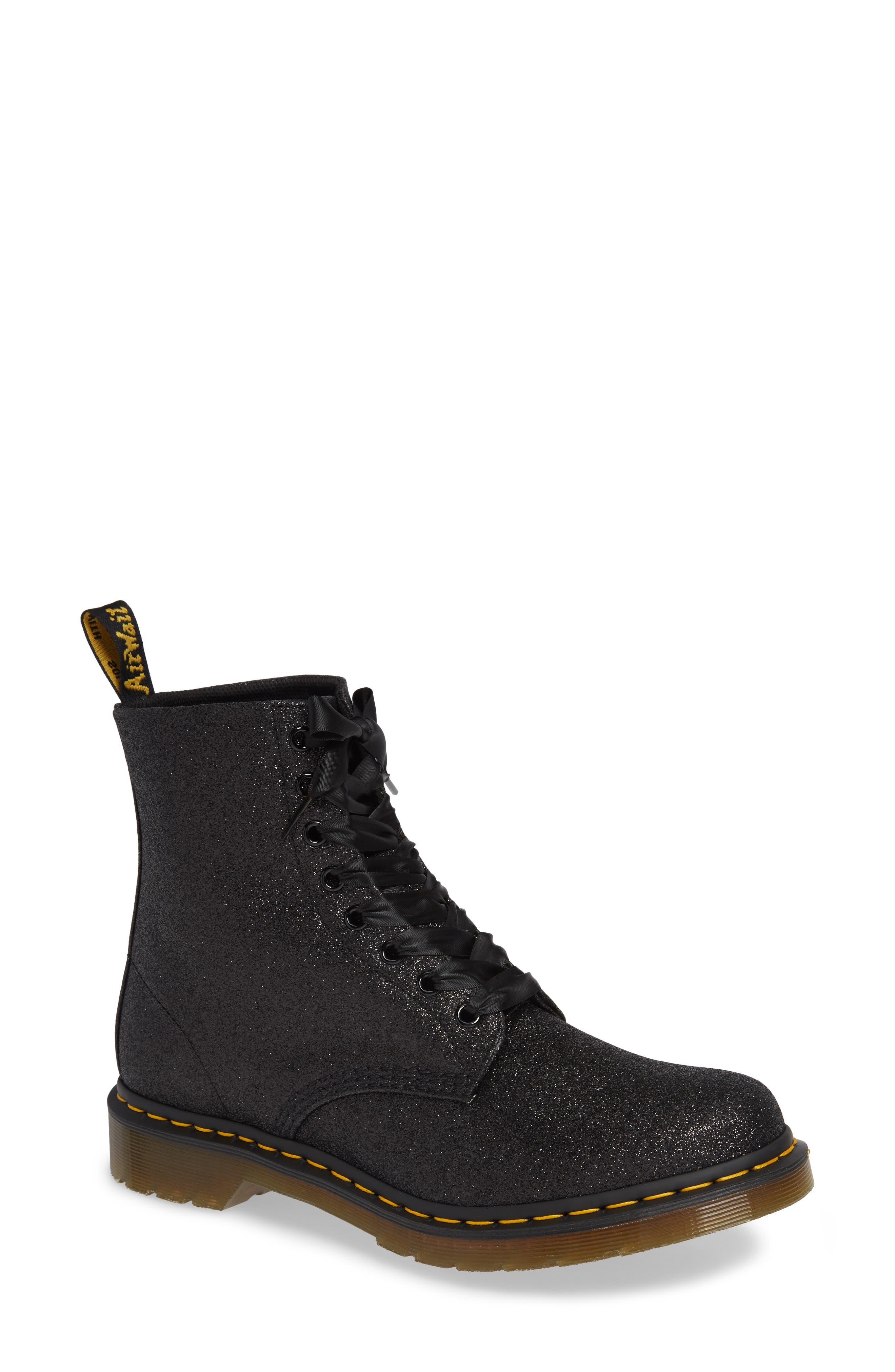 DR. MARTENS 1460 Pascal Glitter Boot, Main, color, BLACK