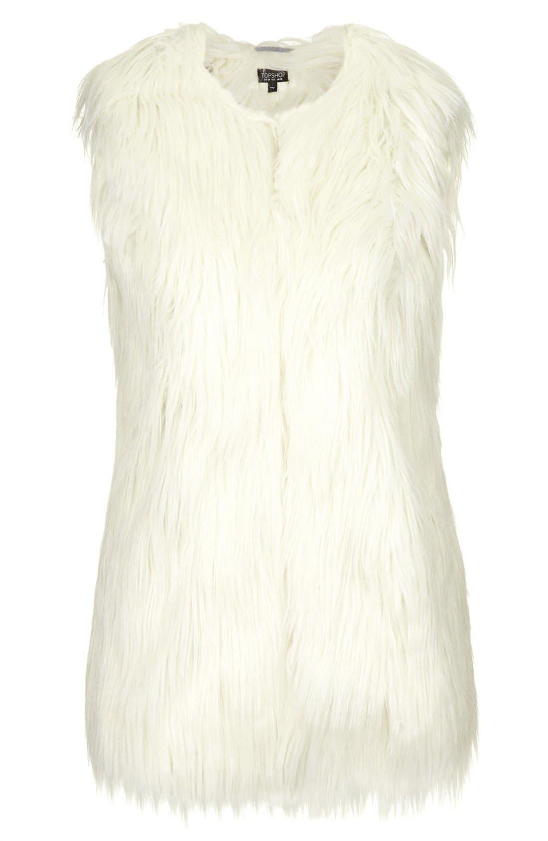 TOPSHOP, Faux Fur Gilet Vest, Alternate thumbnail 4, color, 900