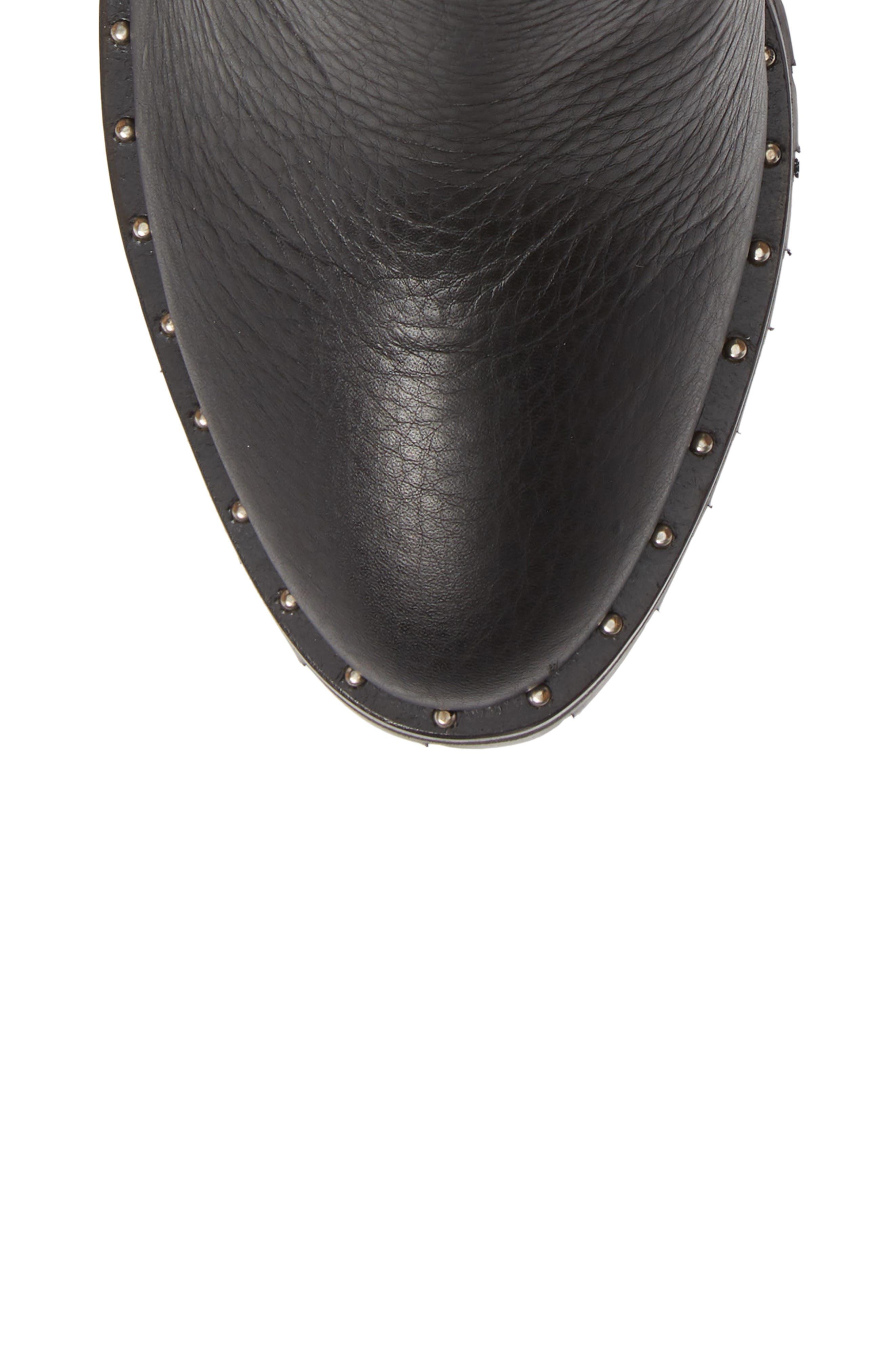 REBECCA MINKOFF, Edolie Studded Platform Bootie, Alternate thumbnail 5, color, BLACK LEATHER