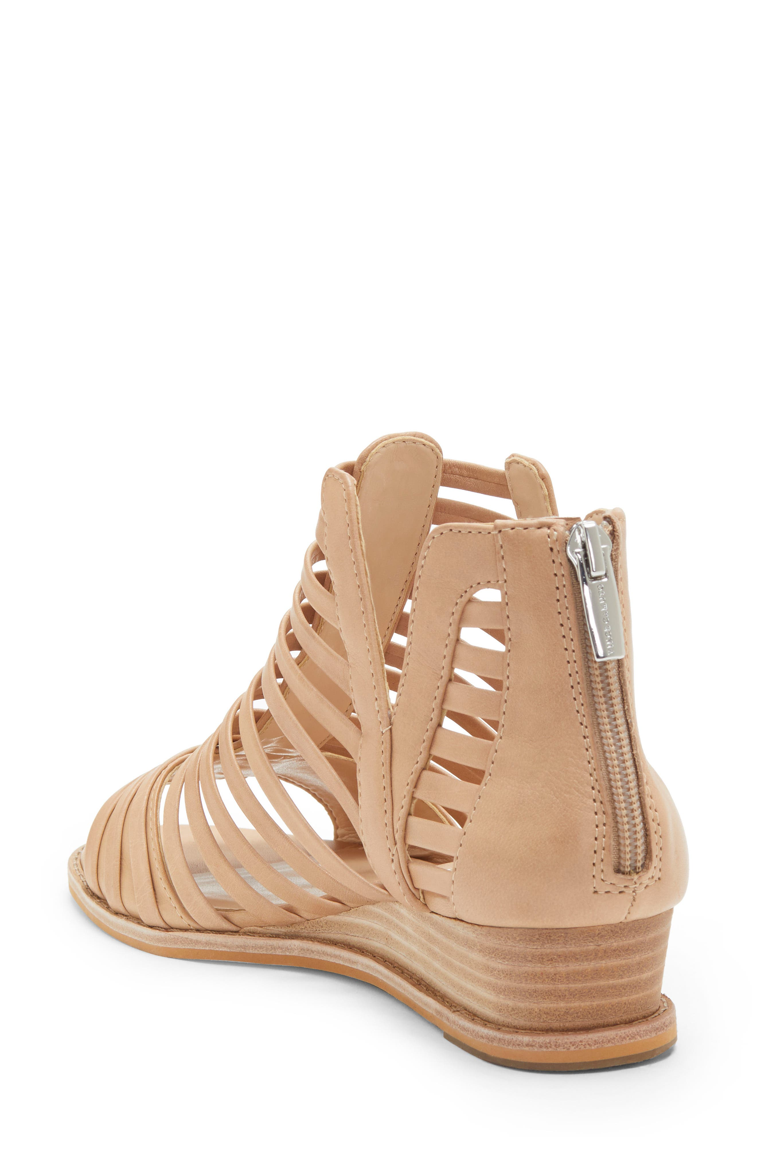 VINCE CAMUTO, Revey Wedge Sandal, Alternate thumbnail 2, color, NATURAL LEATHER